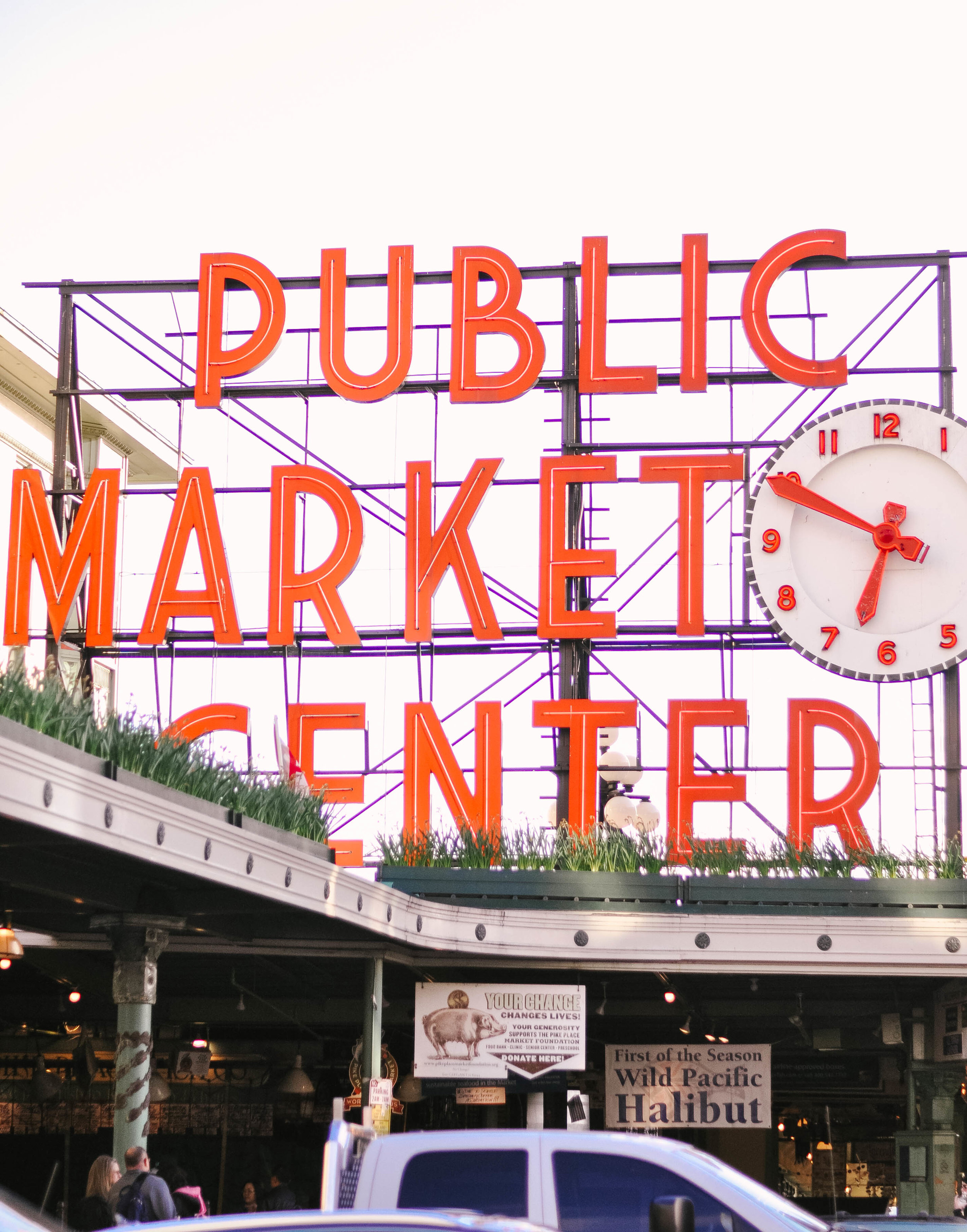 Seattle Washington red public market center sign