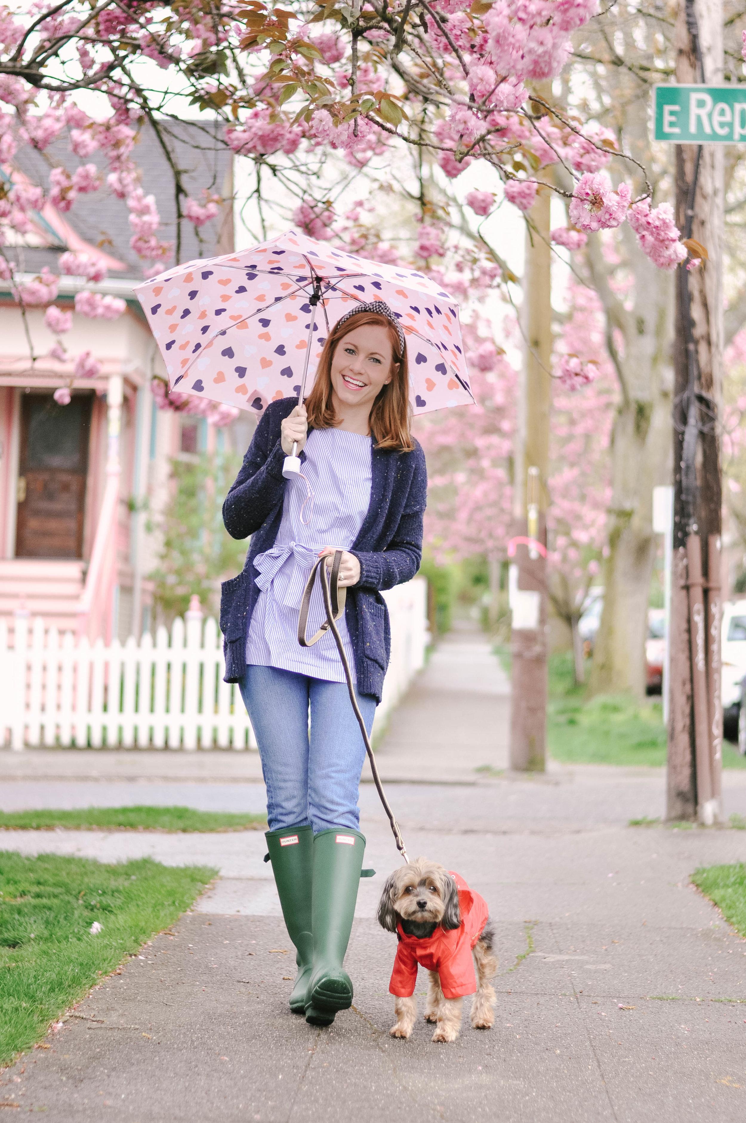 Woman walking dog in raincoat