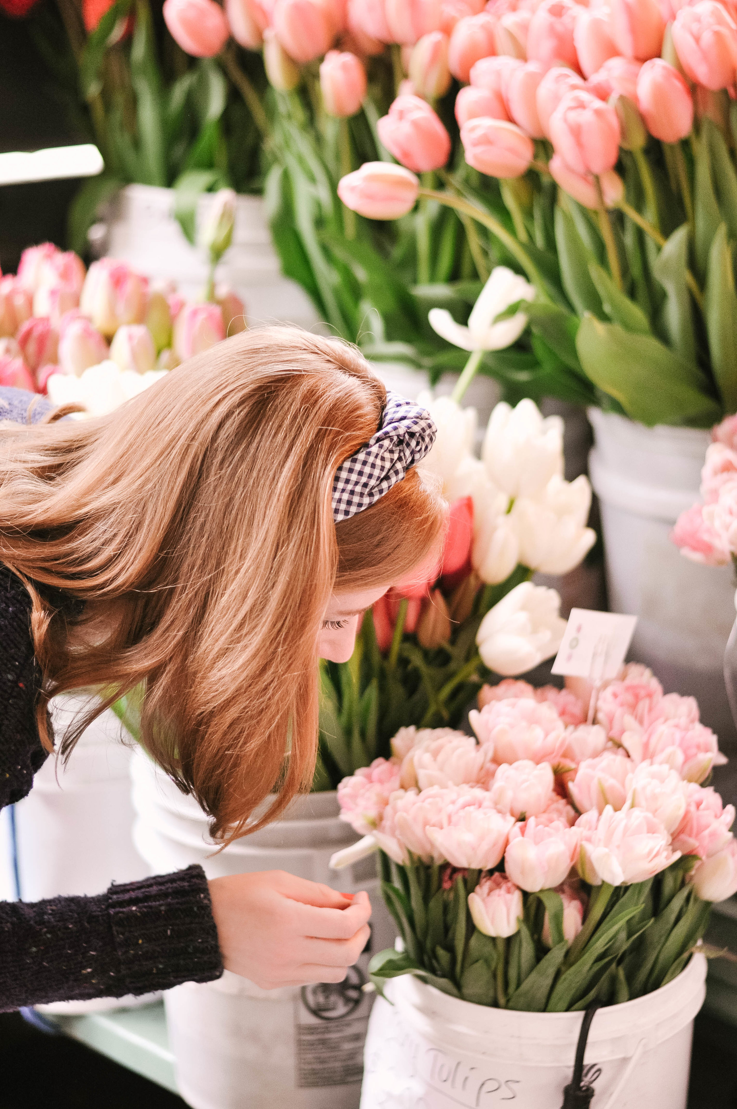 Woman at tulip flower market
