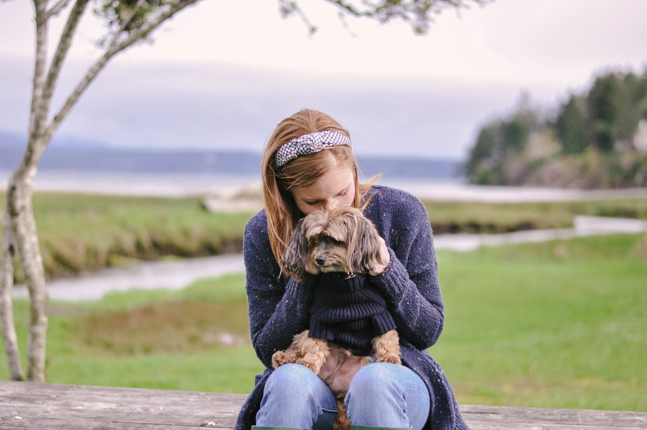 Woman and her small dog