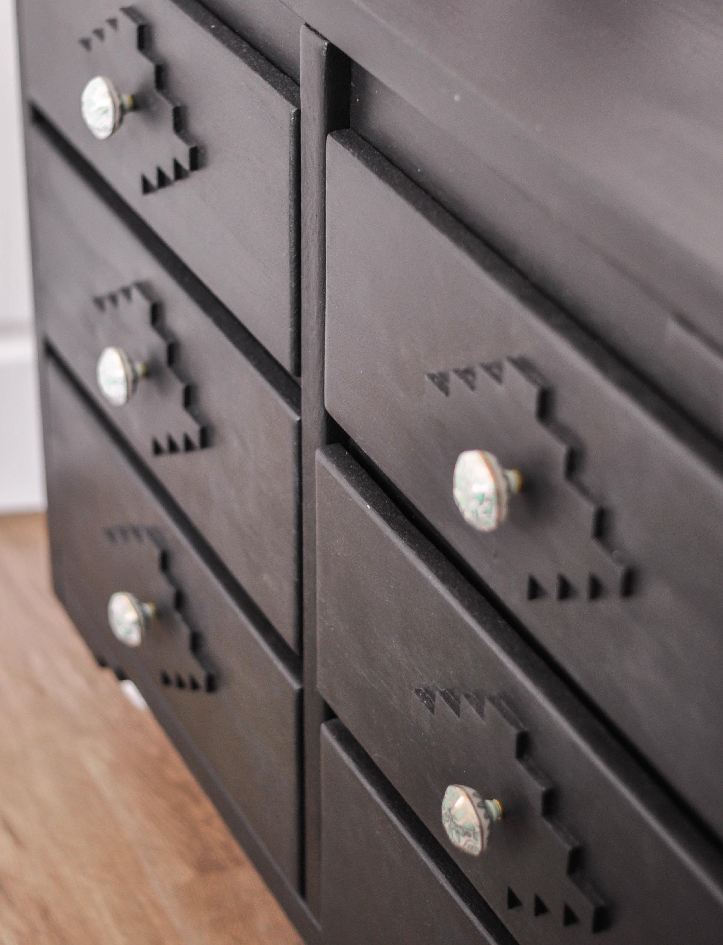 DIY dark wood dresser knobs closeup