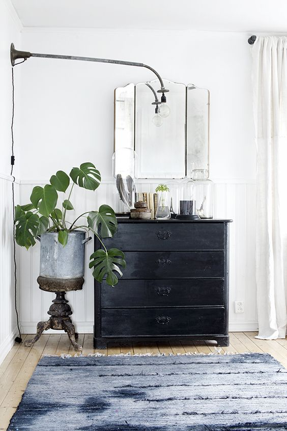 black dresser in bedroom