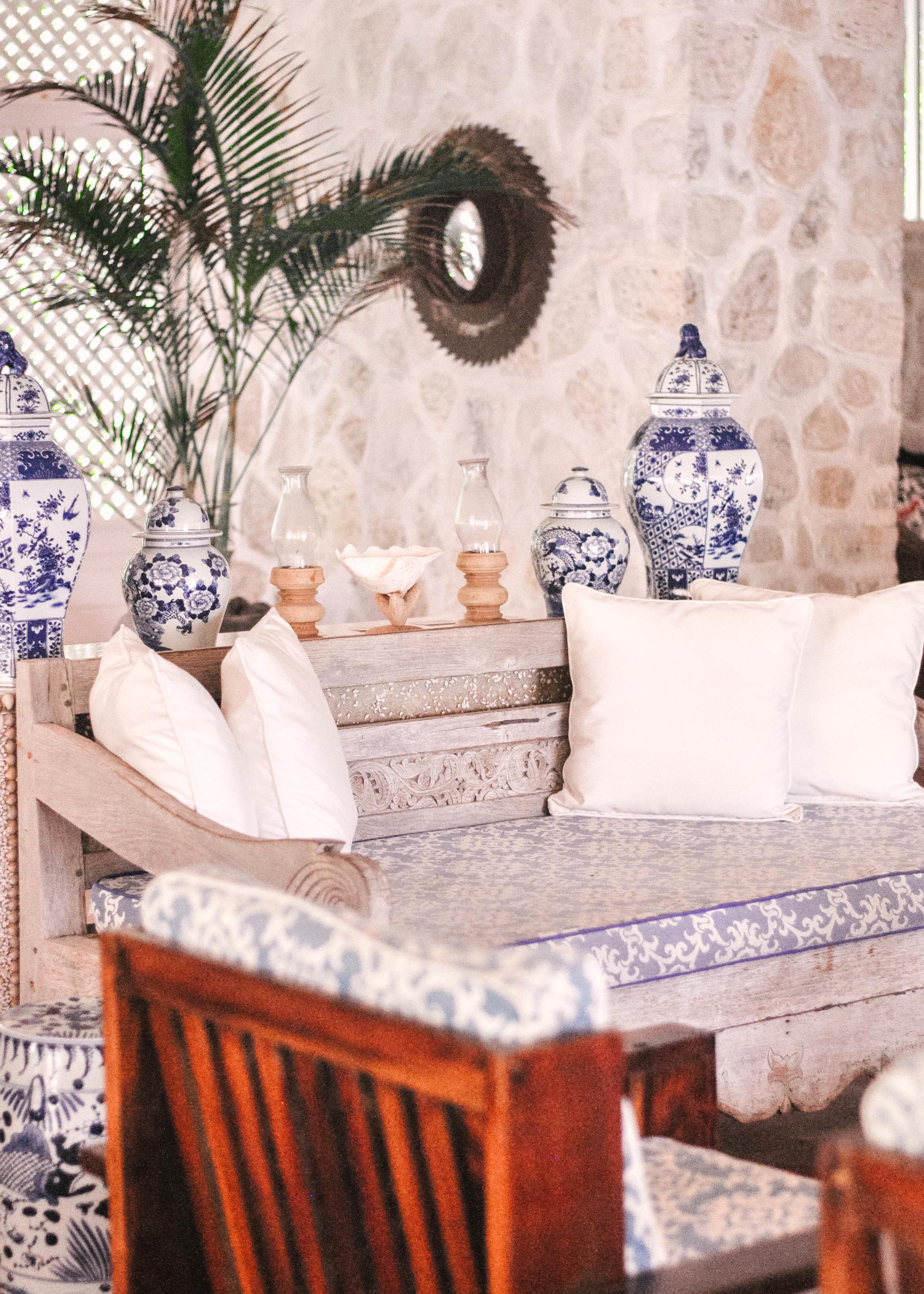 Blue and white Caribbean decor