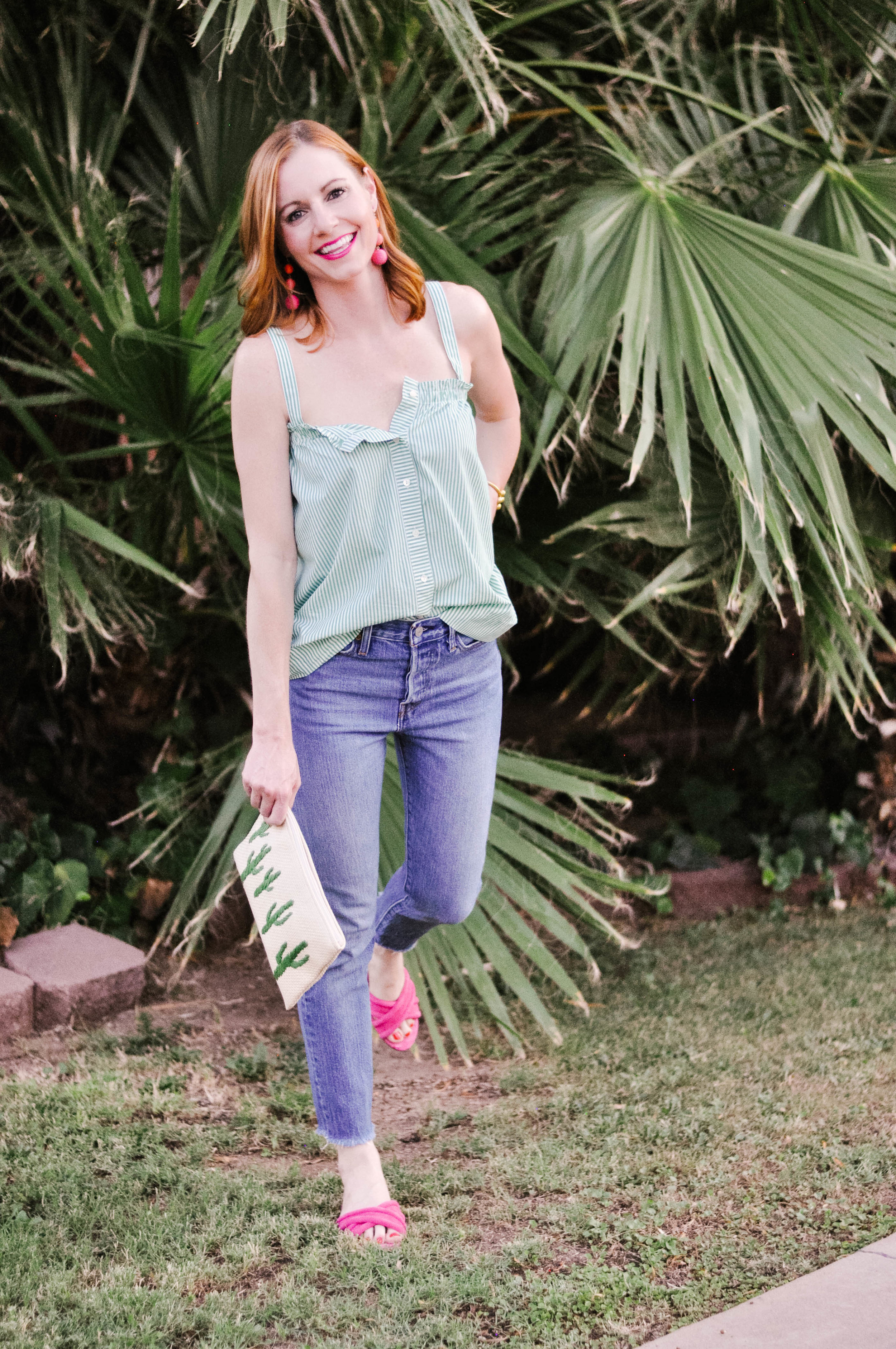 Woman Wearing Pink Sandals and Green Summer Top