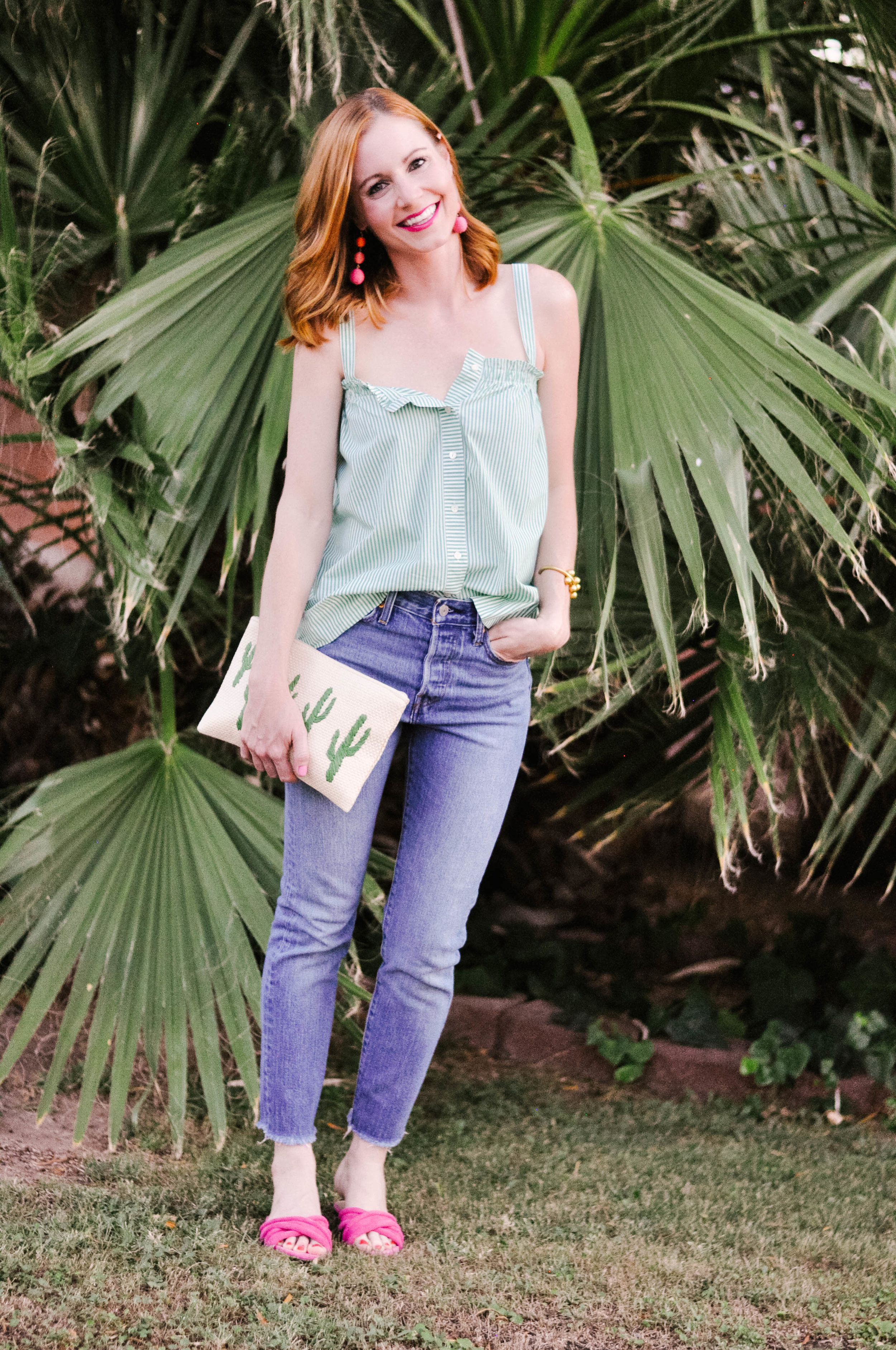 Woman Smiling in Casual Summer Outfit