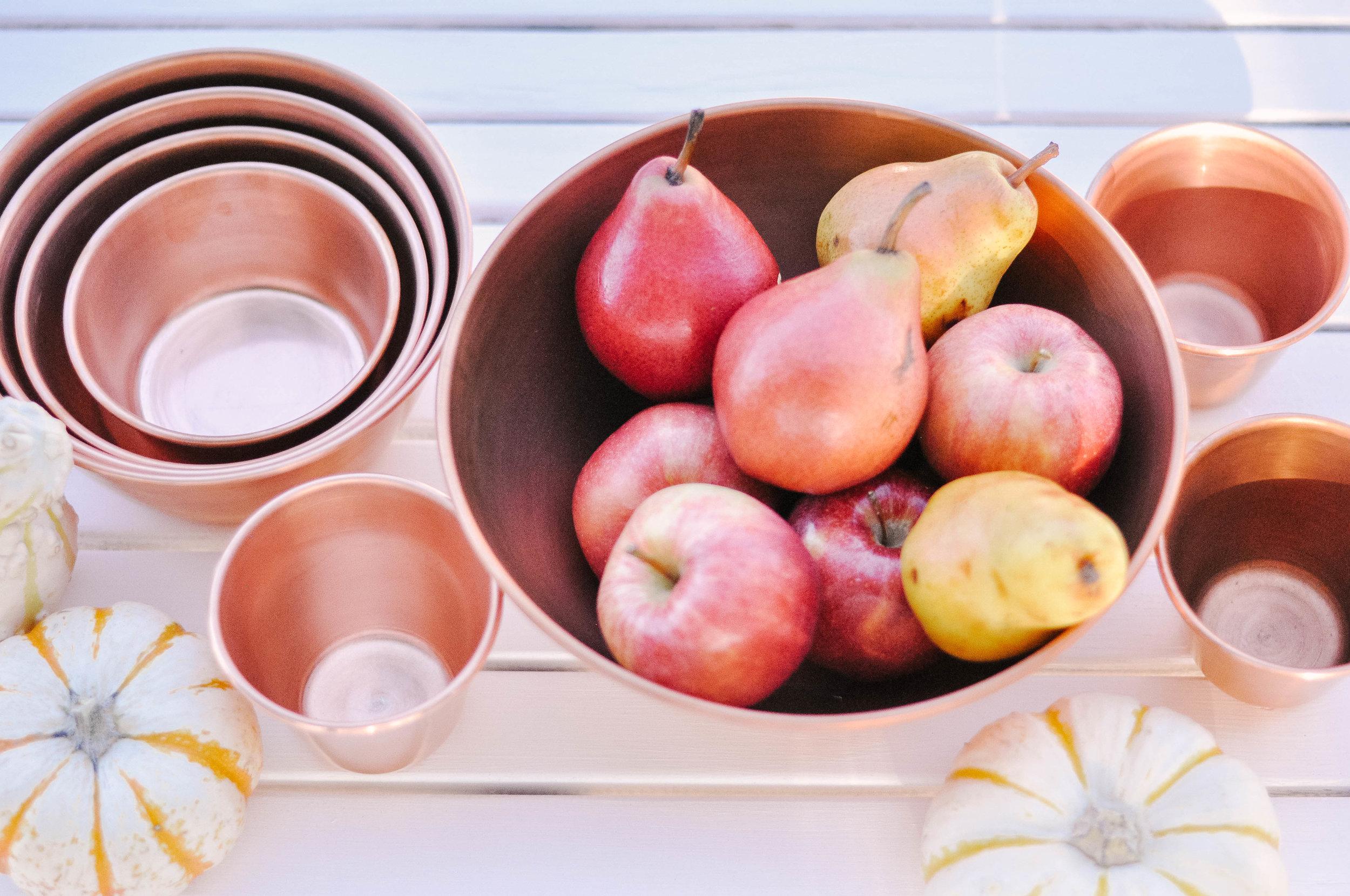 Barn Light Electric  Copper Nesting Bowls  &  Copper Cups , c/o