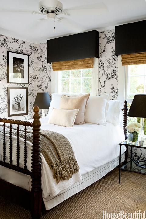 Black and White Modern Farmhouse Bedroom, Photo Photo By House Beautiful