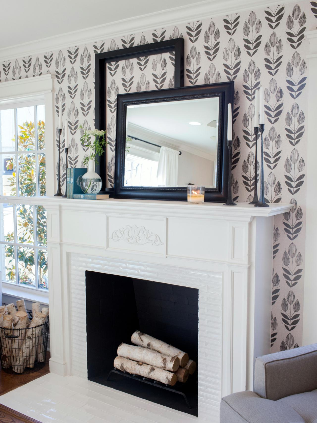 Black and White Modern Farmhouse Wallpaper by D.Marie Interiors