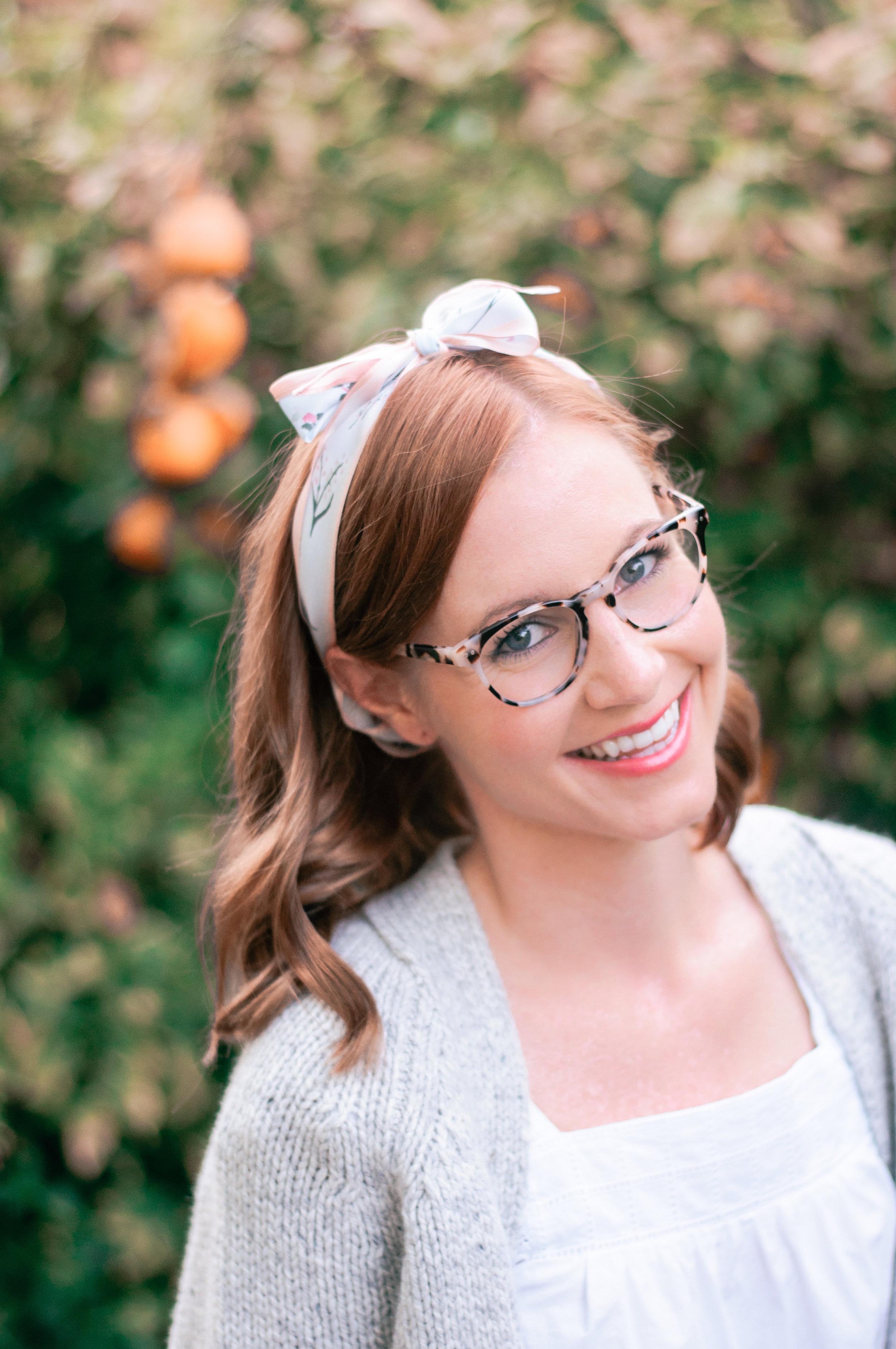 EyeBuyDirect Notting Hill Eyeglasses in Ivory Tortoise and Rebecca Minkoff Diamond-Cut Silk Scarf