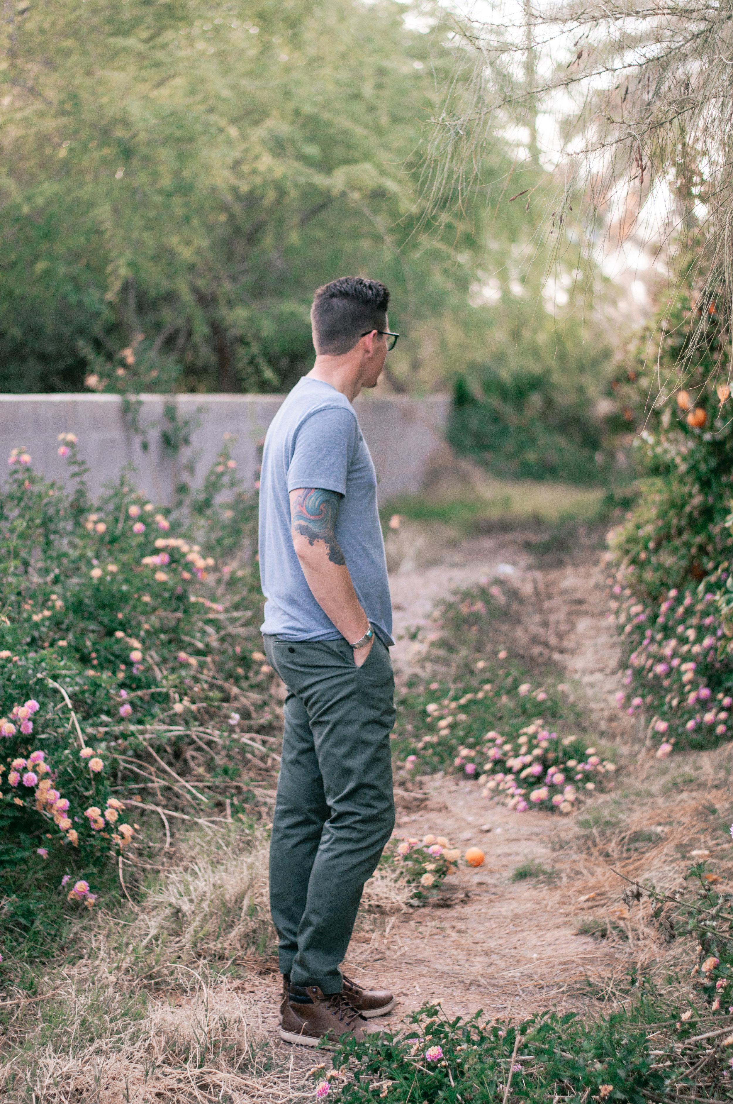 Men's Grey Short Sleeve Henley