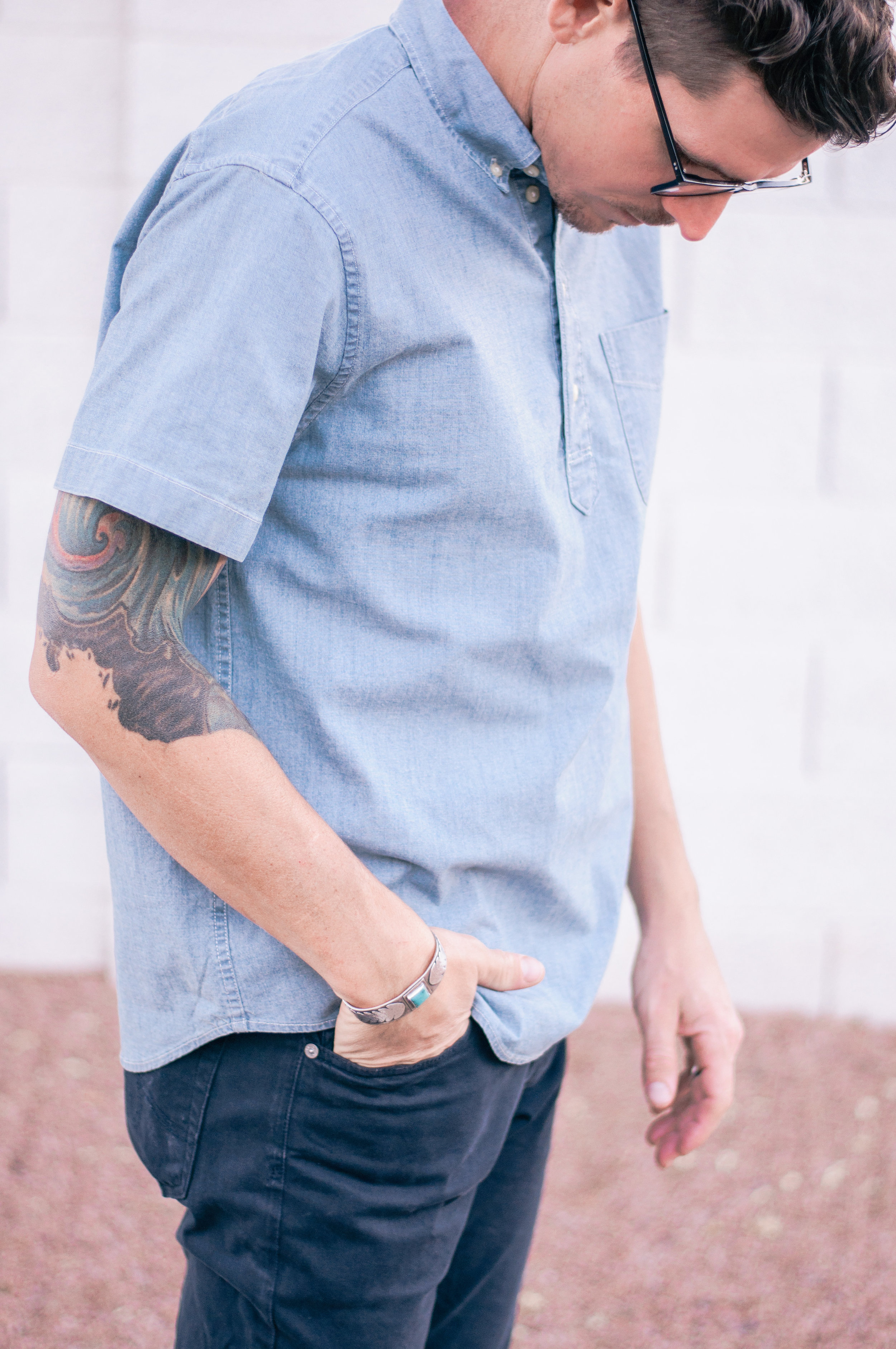 Mens Casual Short Sleeve Chambray Shirt