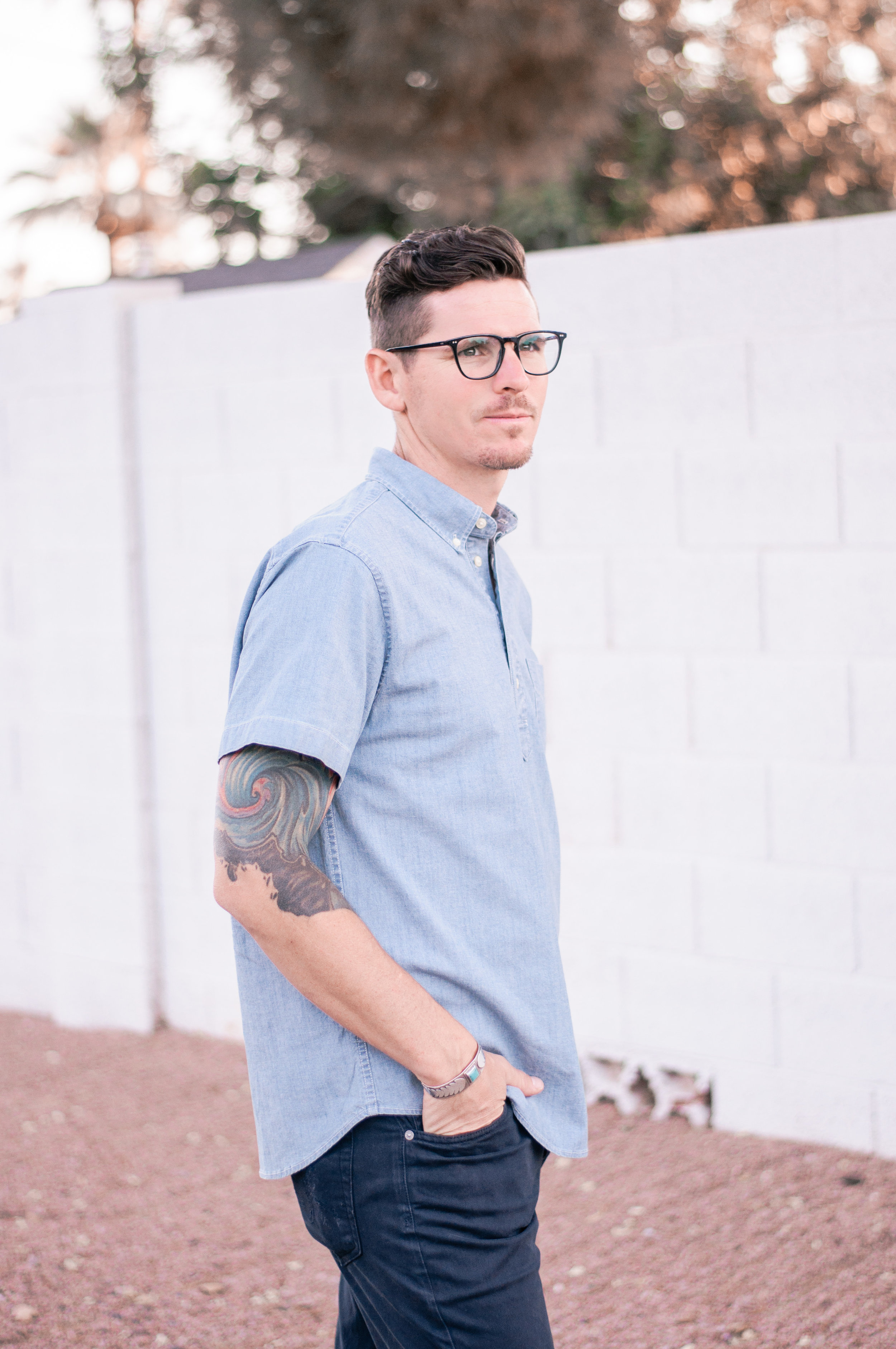 Men's Casual Chambray Shirt for Summer