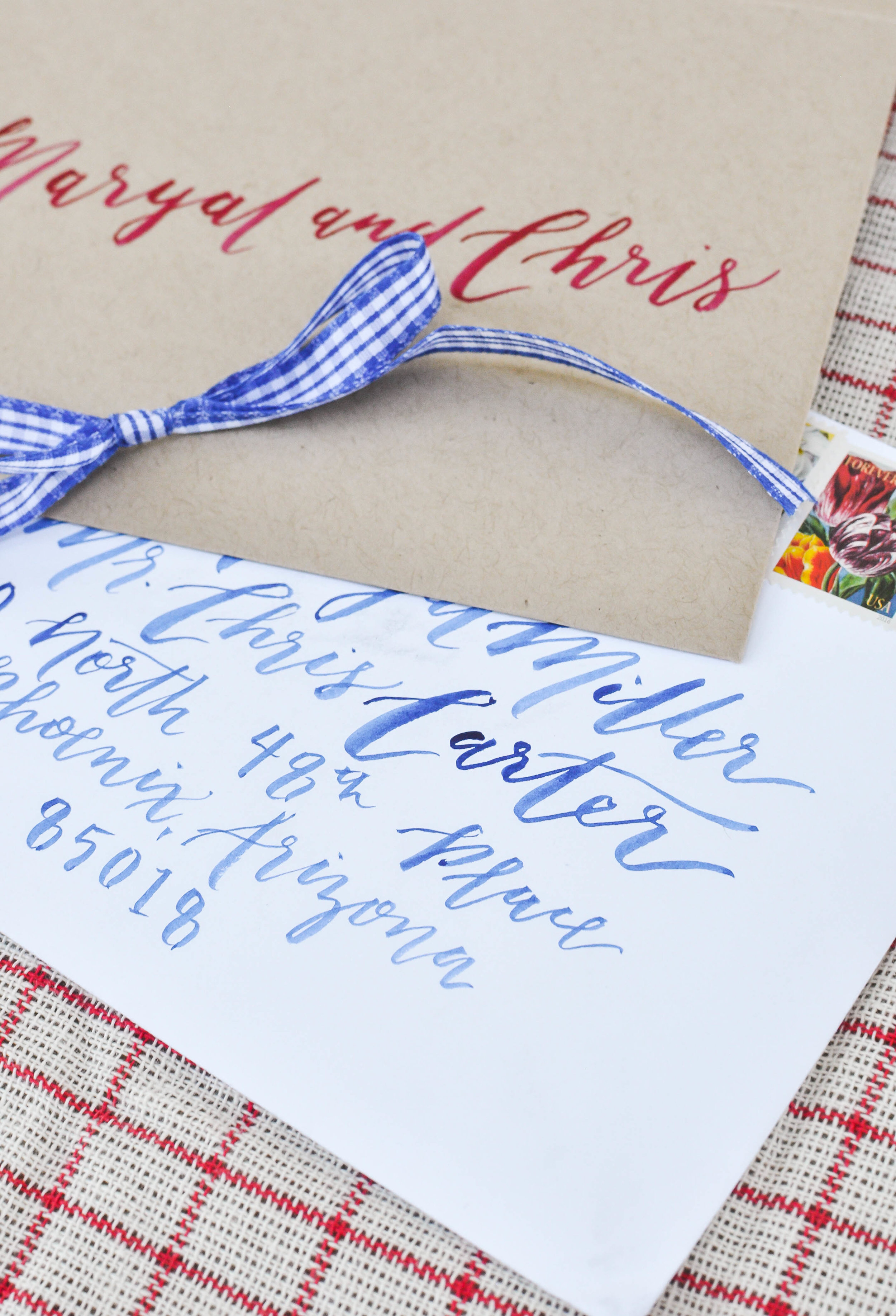 Red White and Blue Country Wedding Invitations