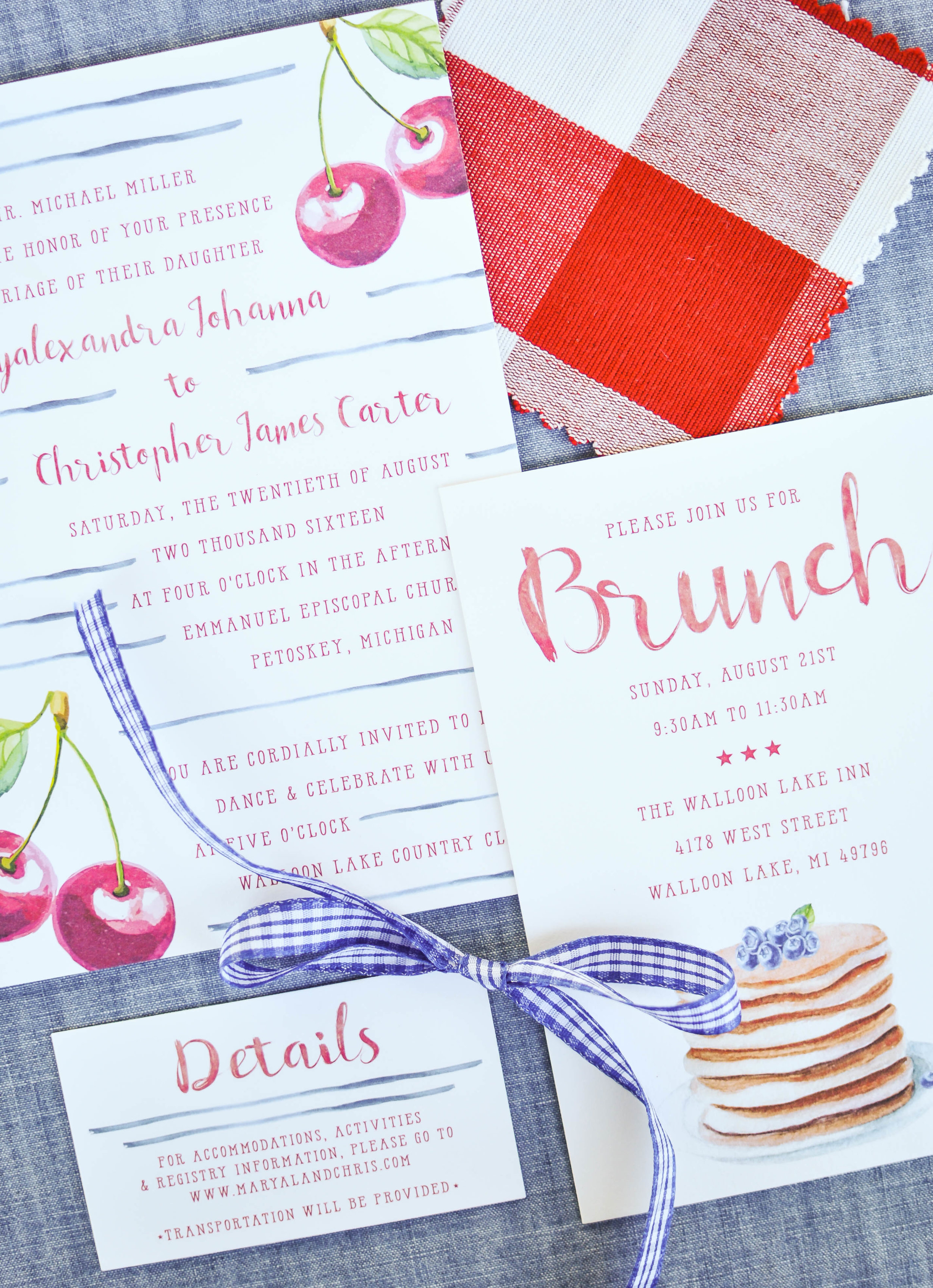 Cute Country Wedding Watercolor Invitations