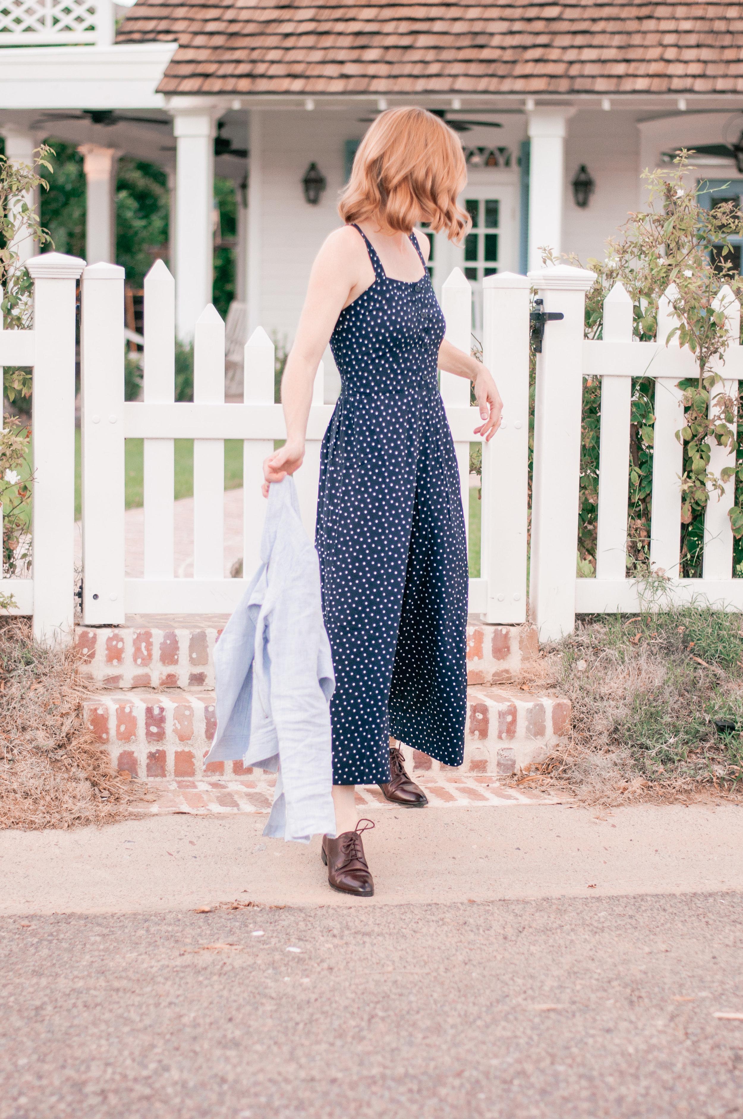 Casual Navy Blue Wide Leg Jumpsuit for Women