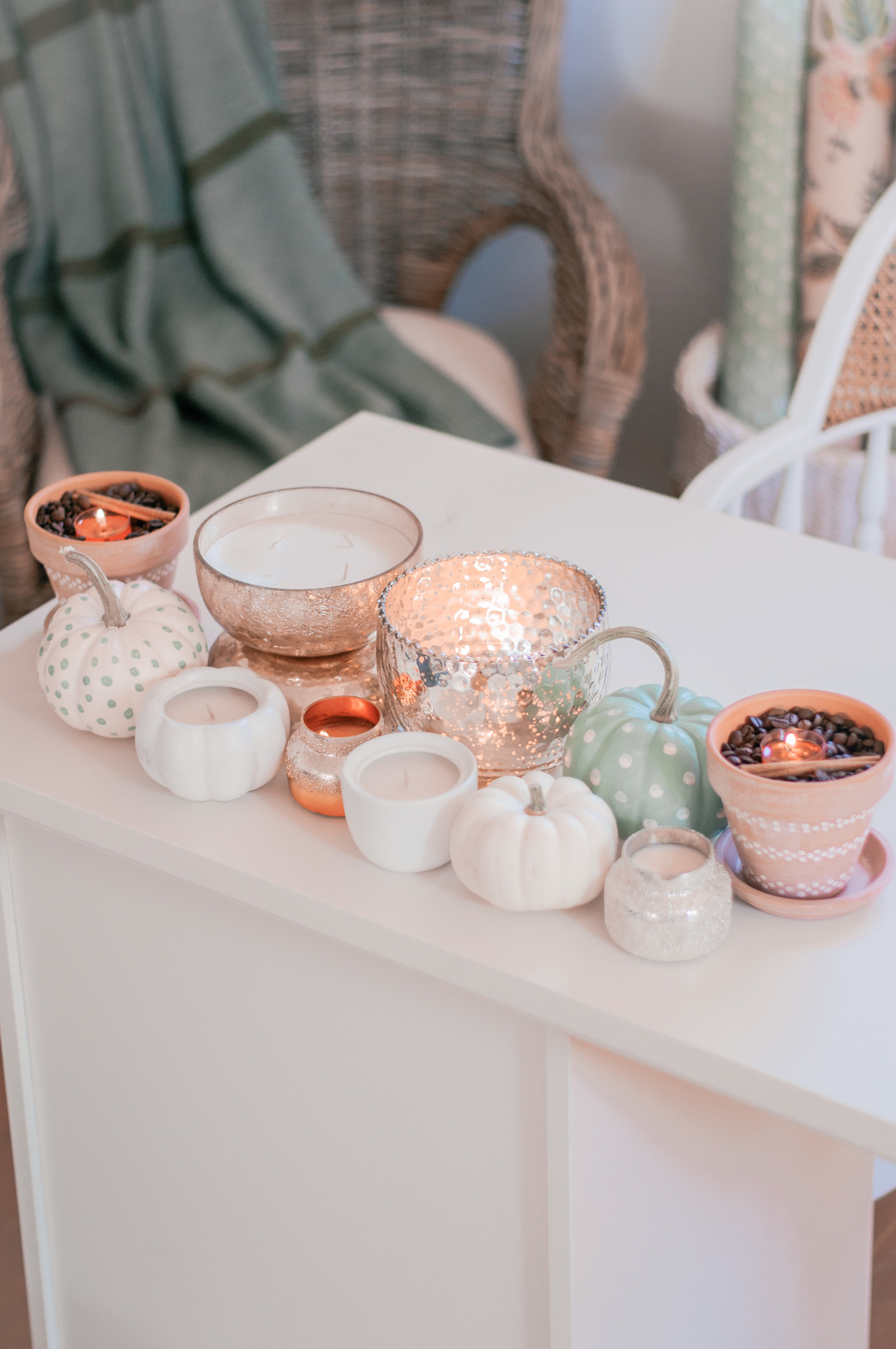 Fall centerpieces with candles