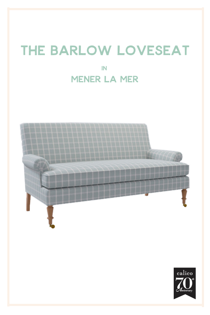 Bedroom, living room, office, entryway and beyond - the possibilities are endless with the Barlow Loveseat. But what I think makes this piece so special is the super cozy and cool seafoam/aqua Mener la Mer check fabric that could fit right into almost any design style, and stand out in the best way. A furniture dream come true!