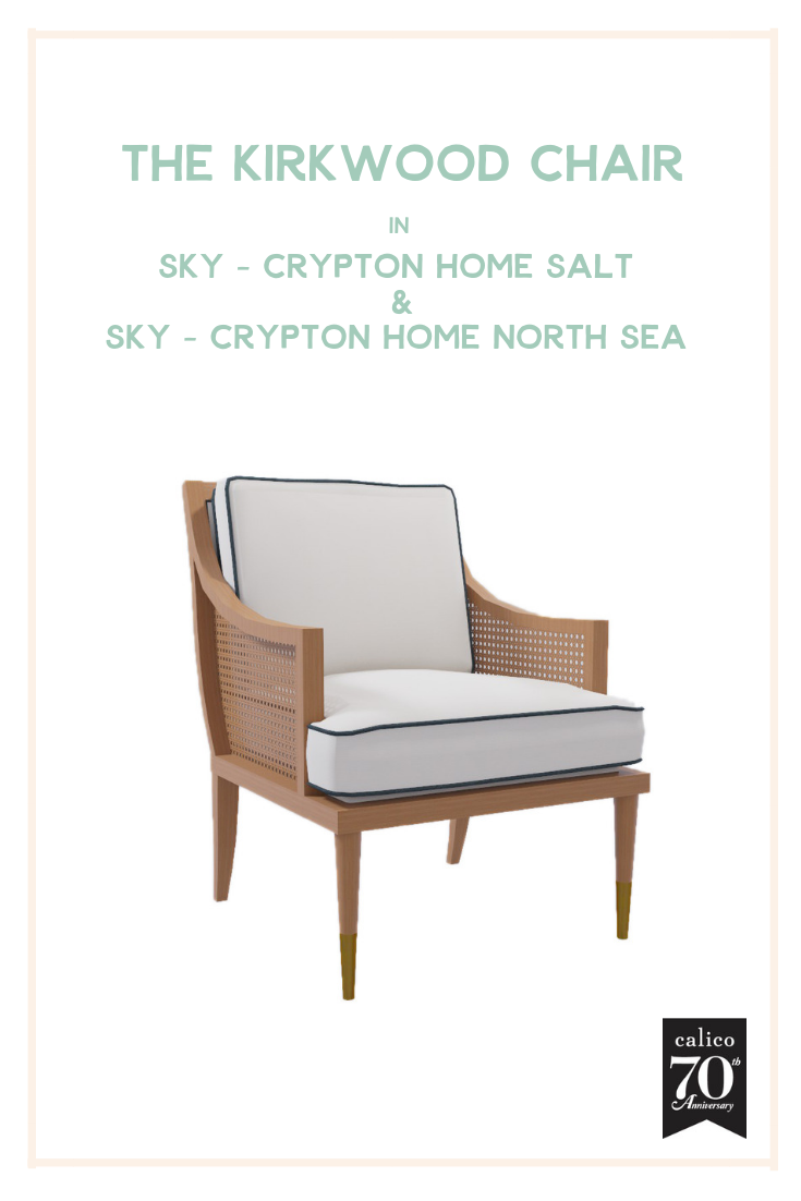 You know we live for a great cane accent, and the warmth and casual-coolness of cane has never looked better than on the Kirkwood Chair. And pairing it with a classic white performance fabric like the beautiful Sky - Crypton Home Salt and a gorgeous navy piping means it can live… and work hard… anywhere in your home and stand the test of time. How cool is that?