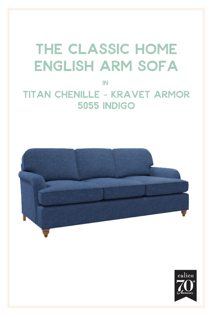 If you've never experienced the casual, lived-in, nap-enducing glory of a chenille sofa, you haven't lived! Which is why we couldn't think of a more perfect, timeless centerpiece for a family living space than the Classic Home English Arm Sofa in a super soft, denim-hued fabric -- the casual-chic Titan Chenille - Kravet Armor - 5055 Indigo. My parents have an almost identical sofa in their home in Michigan and it remains one of my favorite furniture pieces of all time.