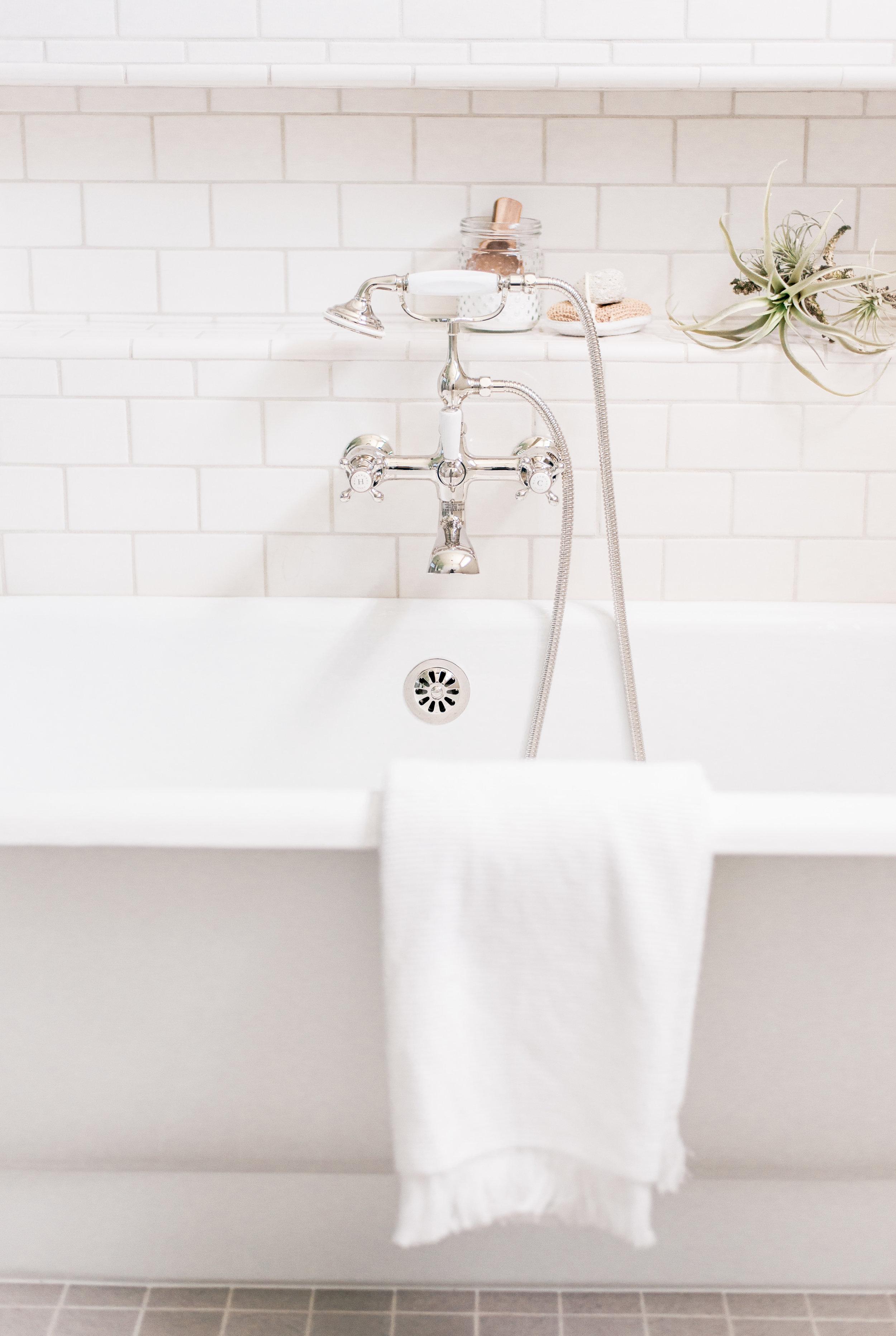White Farmhouse Master Bathroom Design