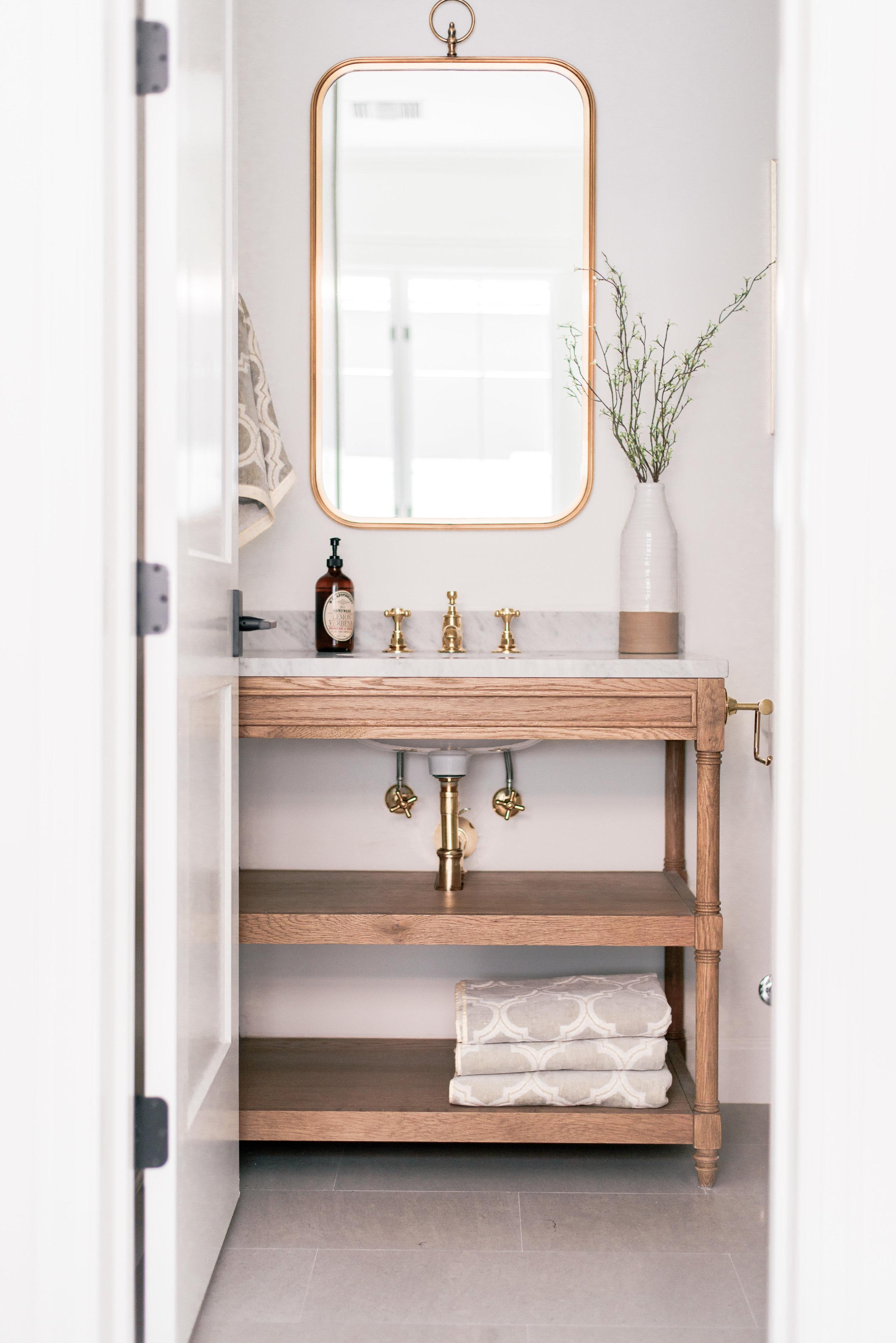 Wood Open Bathroom Vanity