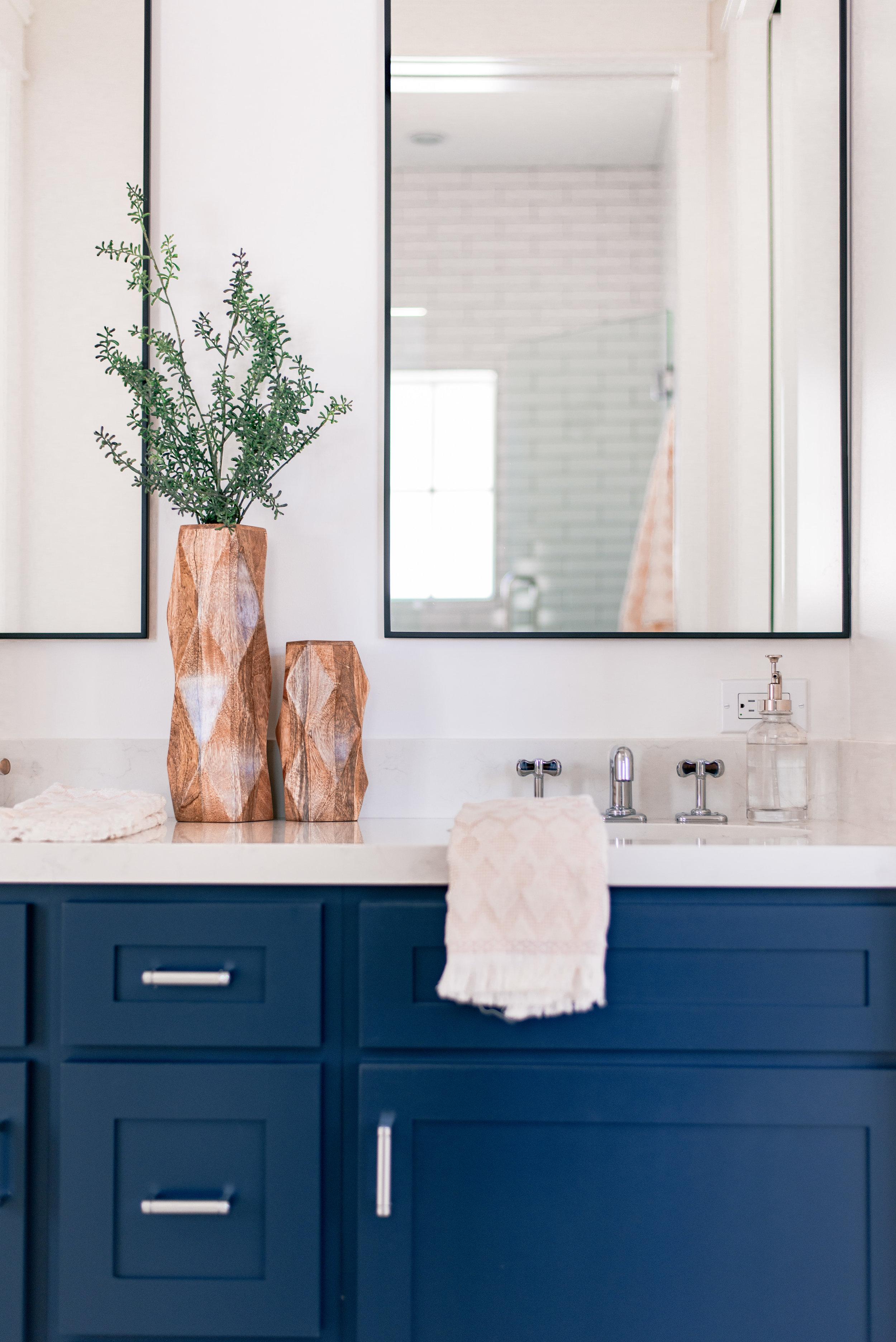 Blue Modern Farmhouse Bathroom Cabinets