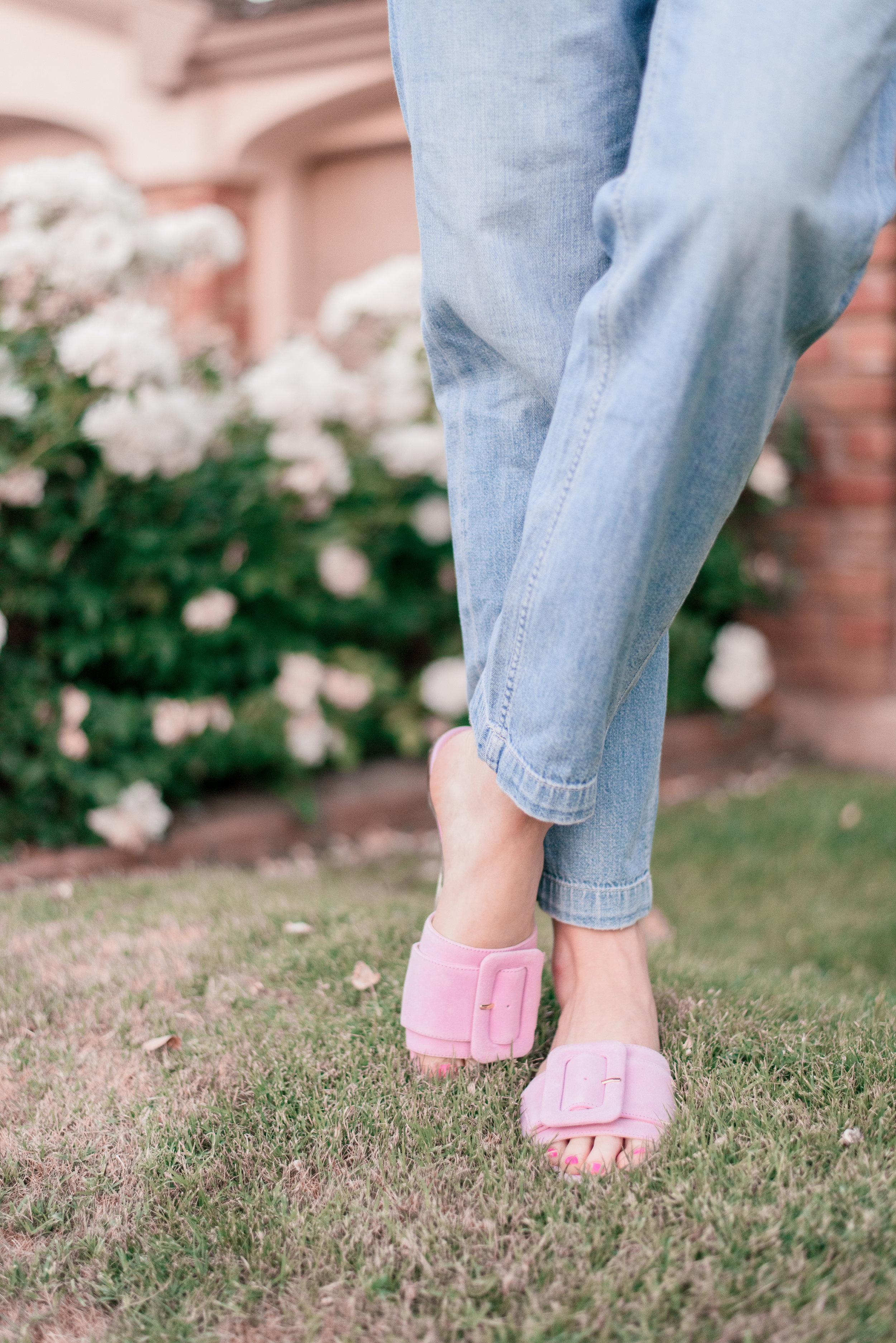 J.Crew Cora Buckle Slide Sandal Pink Suede