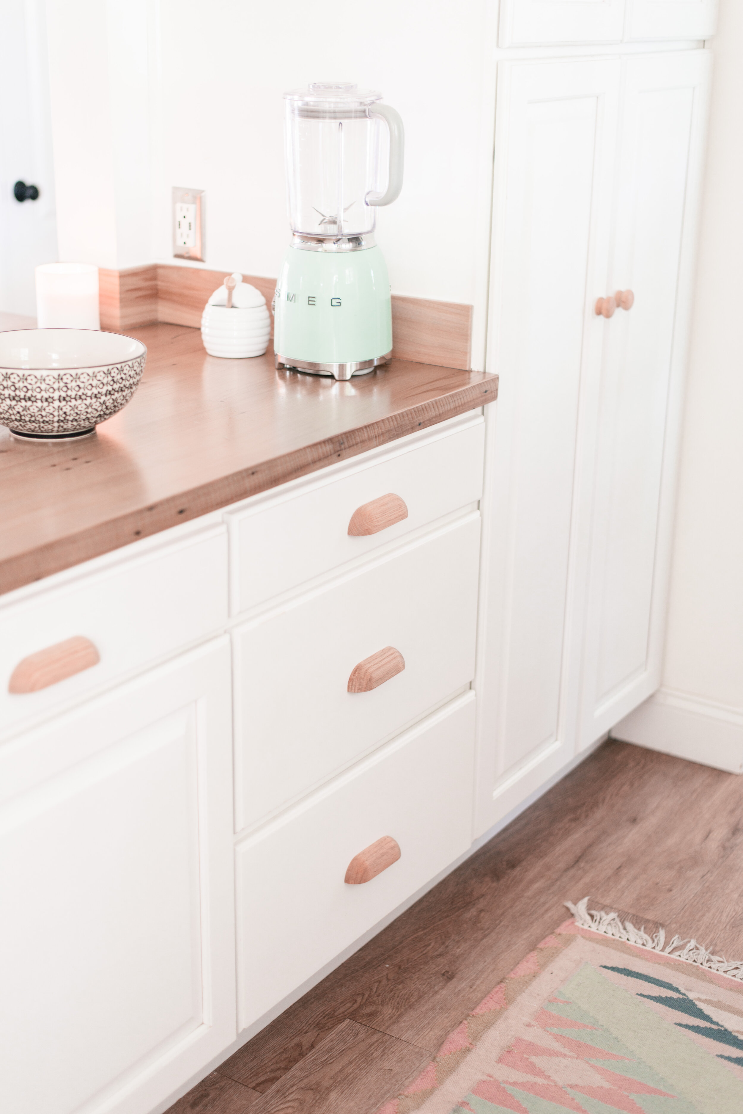 Easy DIY Wood Kitchen Cabinet Hardware Makeover - Love and Specs