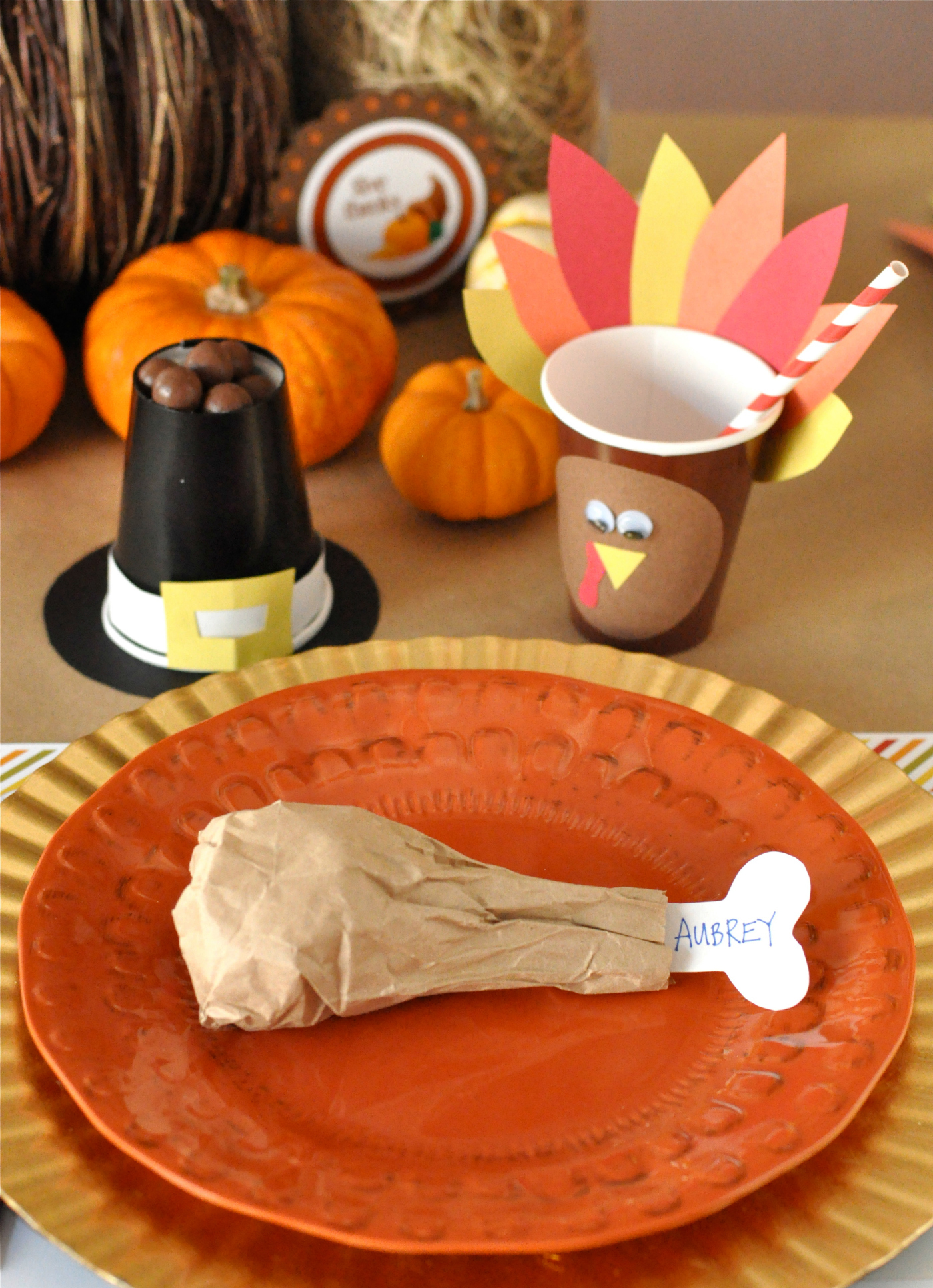 We LOVE the idea of setting your kids table with these adorable creative Thanksgiving crafts. It's a great way to make the little ones feel special and excited about their seating arrangement. Sometimes kids don't like the idea of sitting away from their parents during dinner, especially when there are a lot of new people around. So this is the perfect way to get them on board with the whole kids versus adult table arrangement.  Click here to see more images.