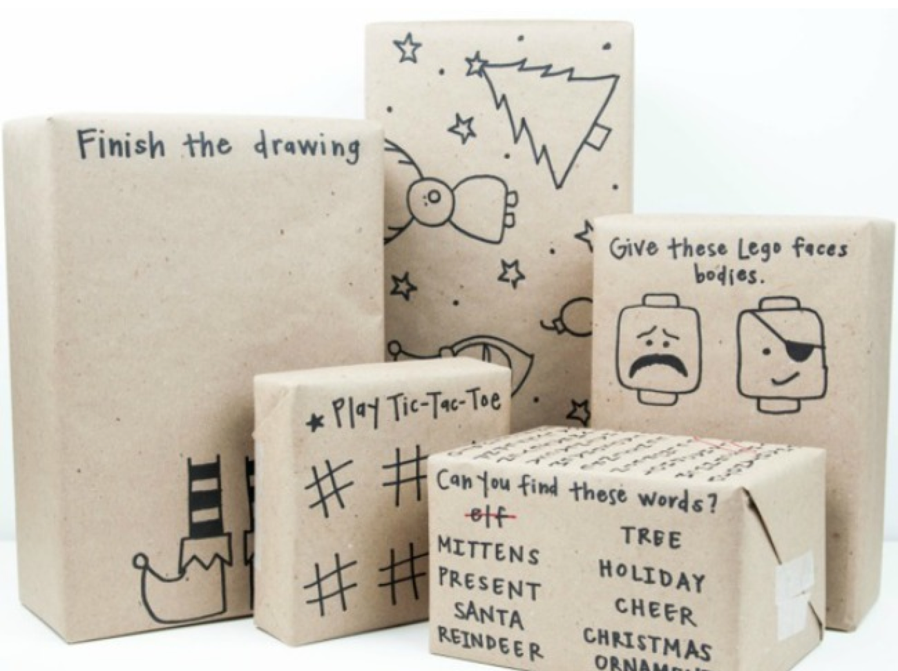 We love,love, love the idea of incorporating DIY activities on your kids wrapping paper! It's the perfect way to make them one-of-kind and entertain the little ones. All you need is some kraft paper, a sharpie, and imagination!  Image Source