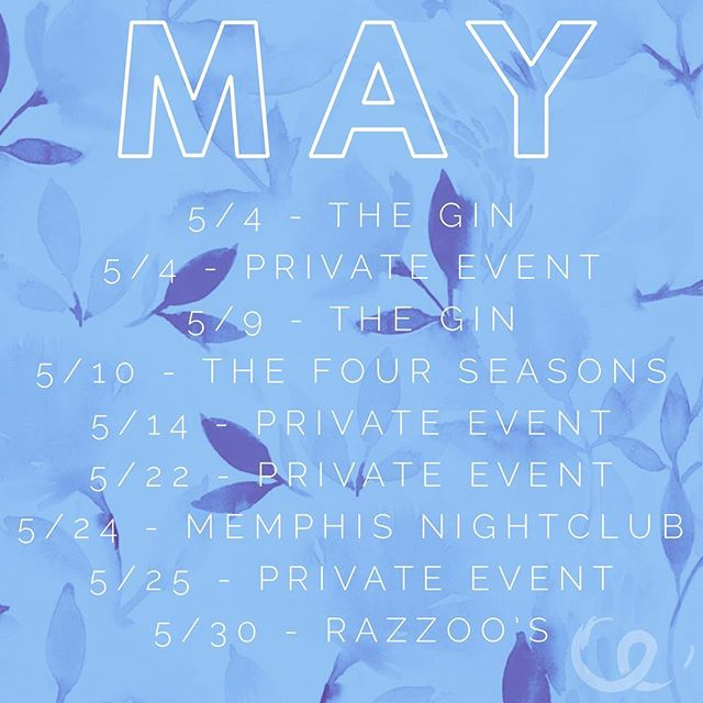 Happy May!! I've got some new dates for you! Lots of private's this month, but come catch me at one of my other shows and say hi!