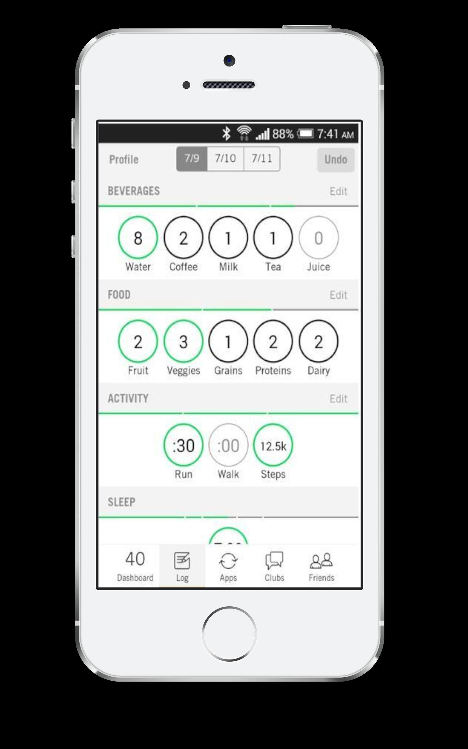 Nudge App Log Screen