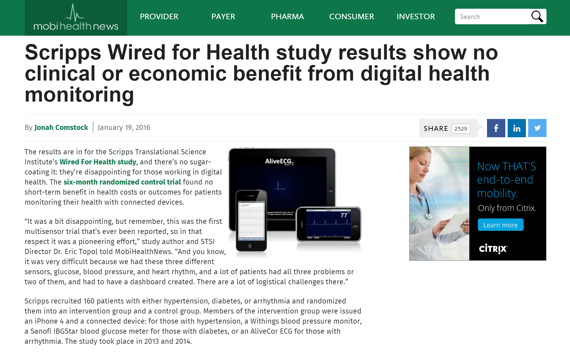 Scipps announcement shared by mobihealthnews.com