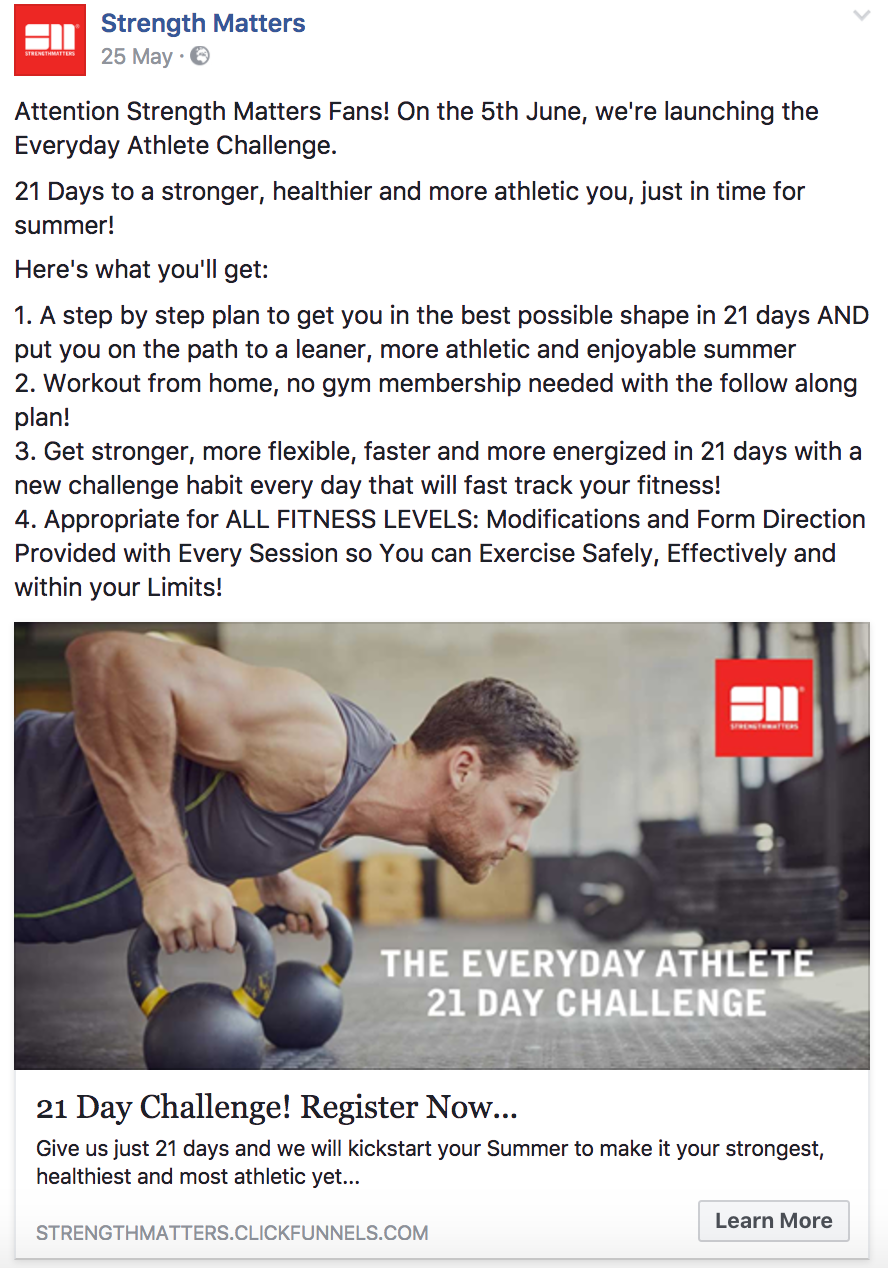 Strength Matter email and Facebook Ad Copy Promoting the Challenge