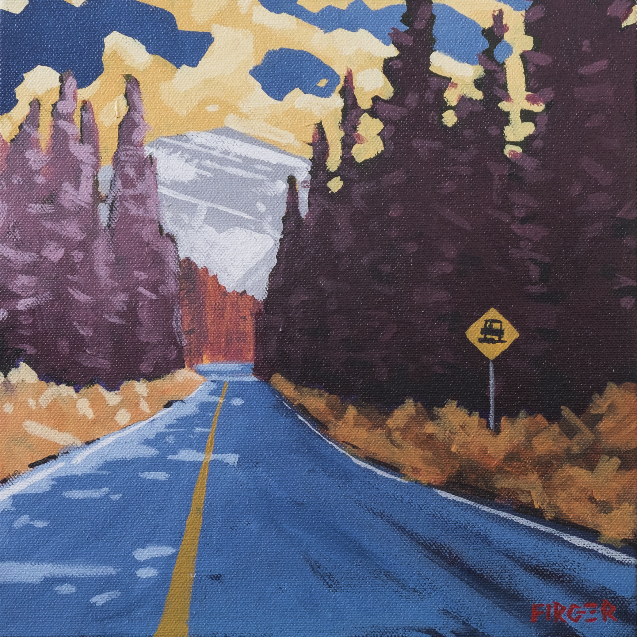 The Road to Mt Edith Cavell - 10 x 10, Acrylic on Canvas (SOLD)