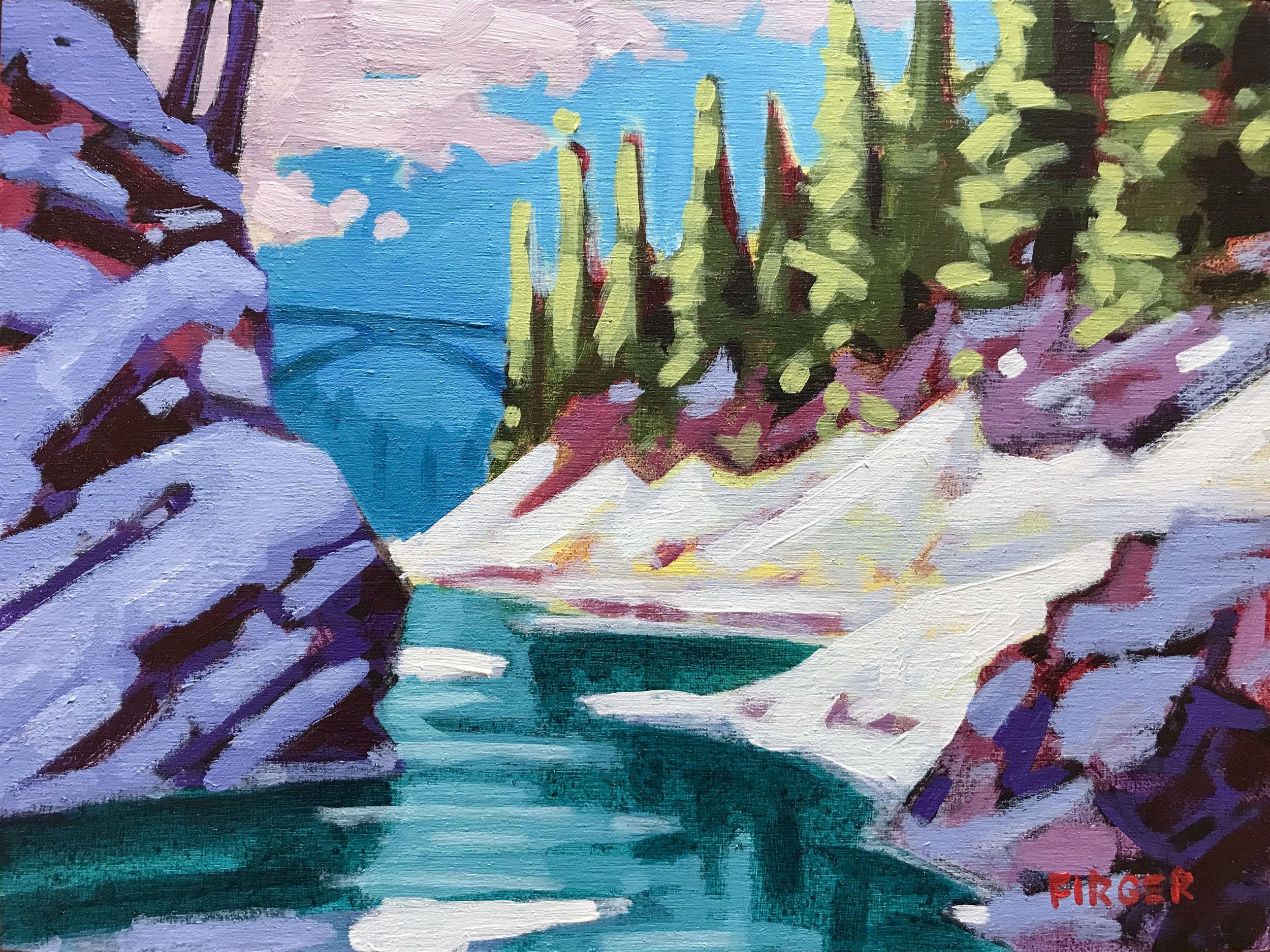 Quechee Gorge Thaw - 9 x 12, Acrylic on Panel