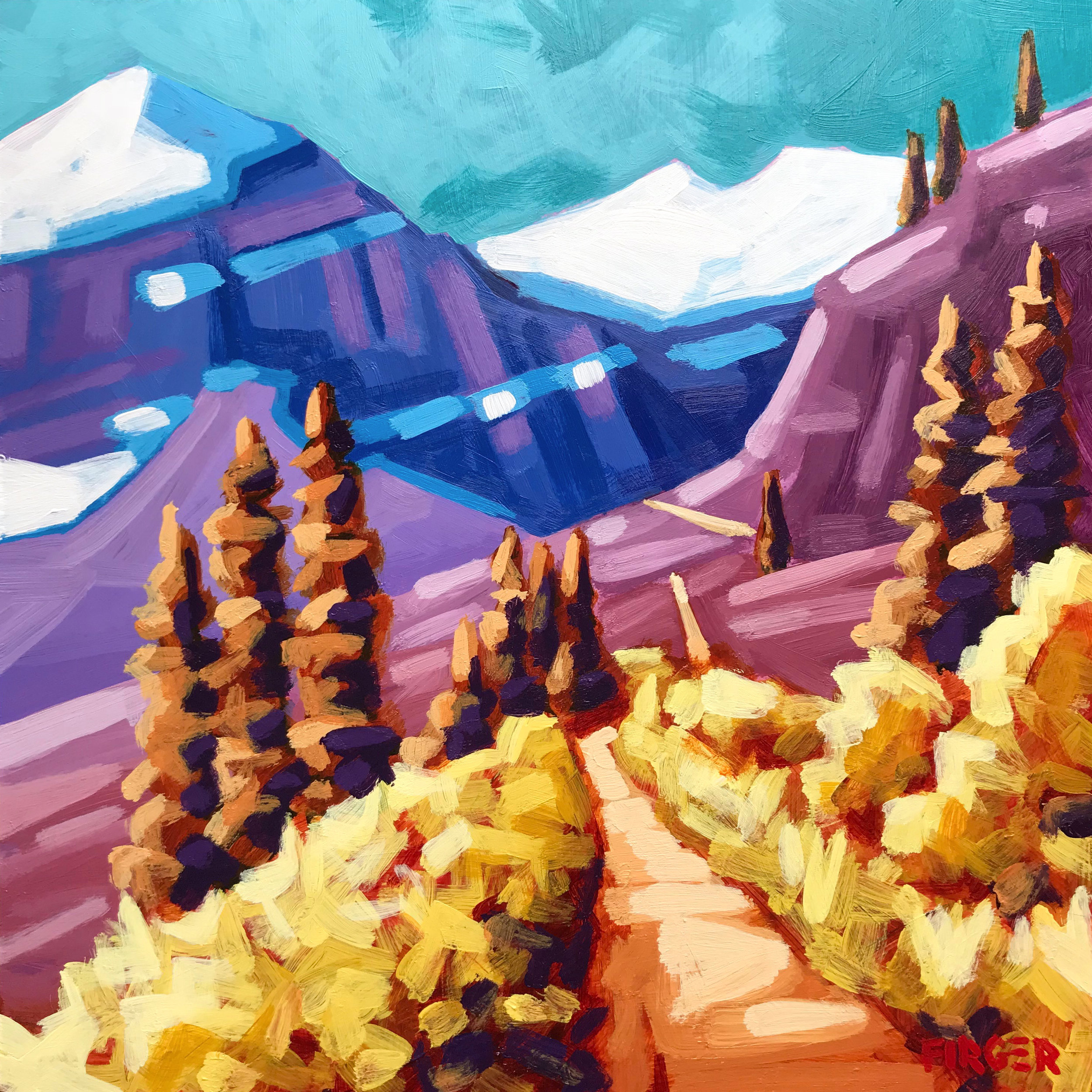 Gaining Elevation, Lake Louise - 10 x 10, Acrylic on Panel (SOLD)