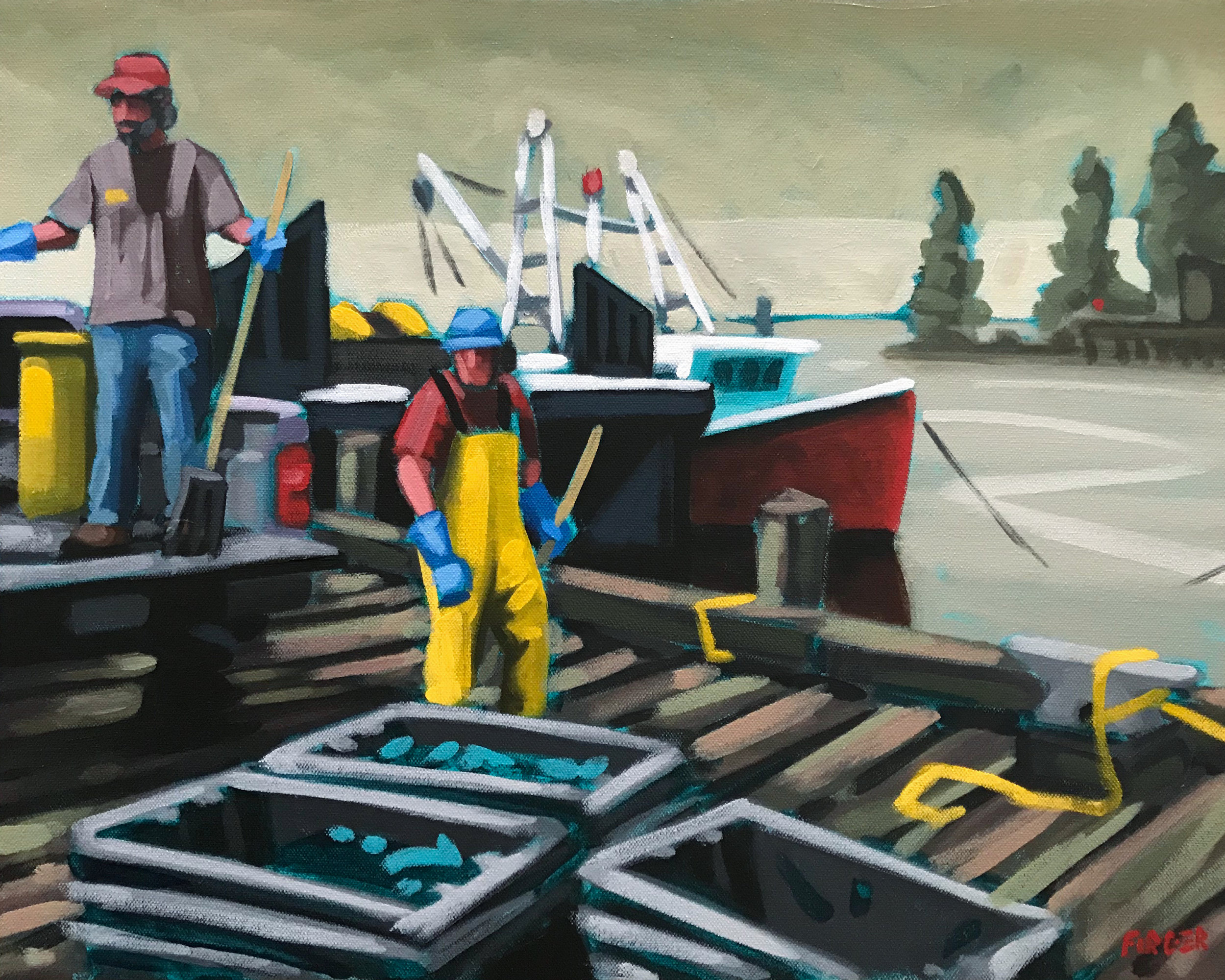 On The Docks - 16 x 20, Acrylic on Canvas