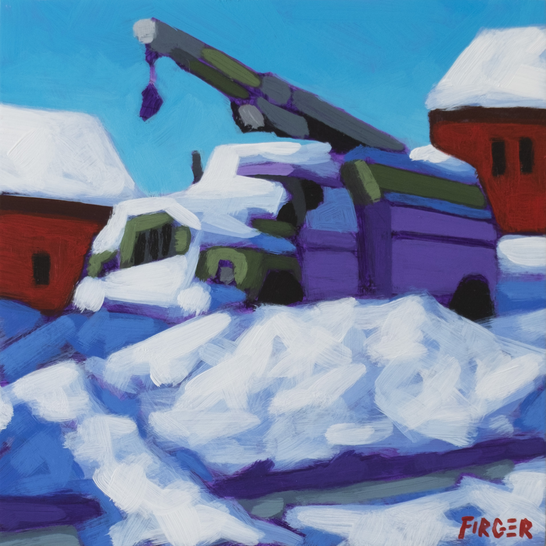 Snow Day 8 x 8, Acrylic on Panel (SOLD)