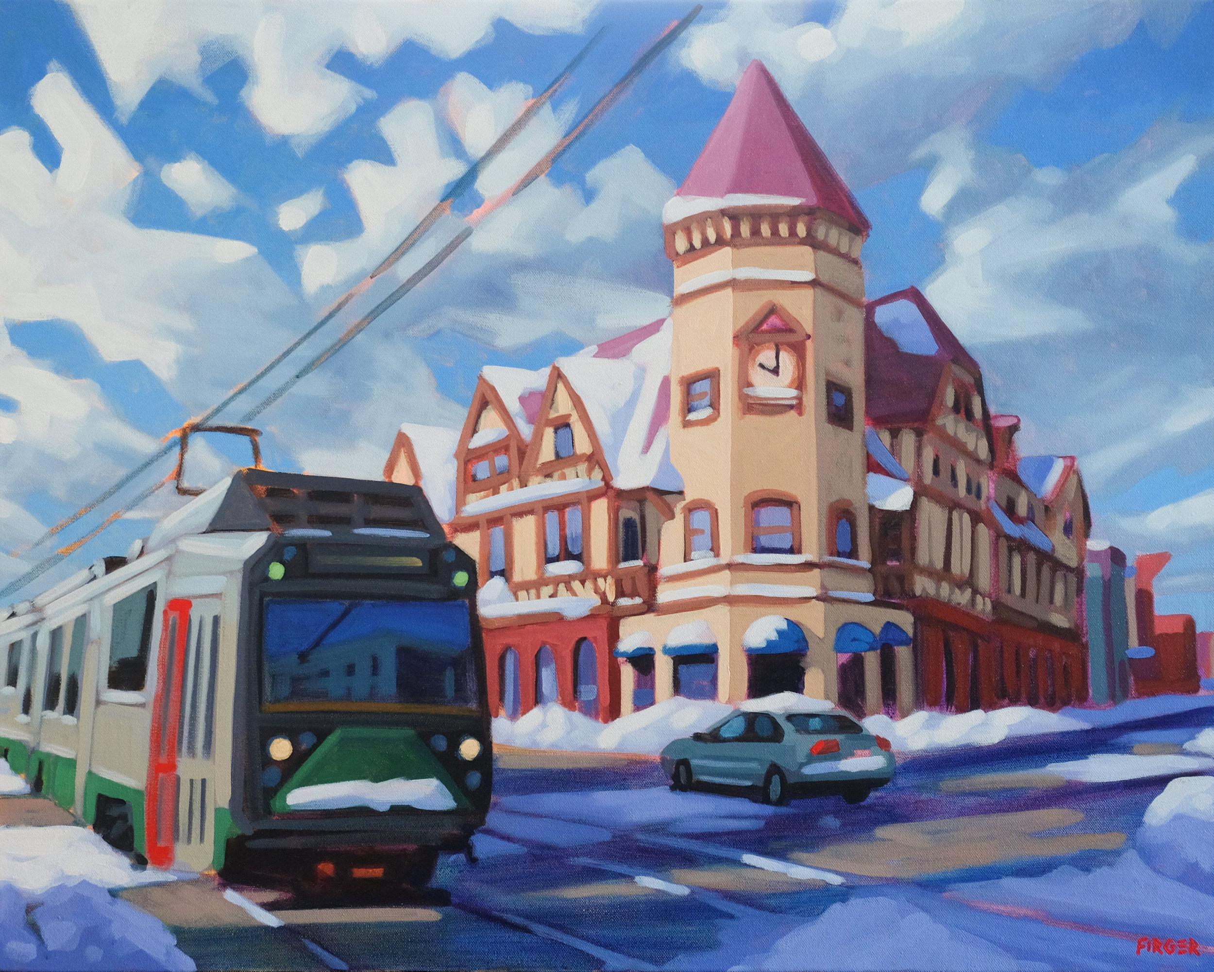 Winter Sunrise (Coolidge Corner) - 24 x 30, Acrylic on Canvas
