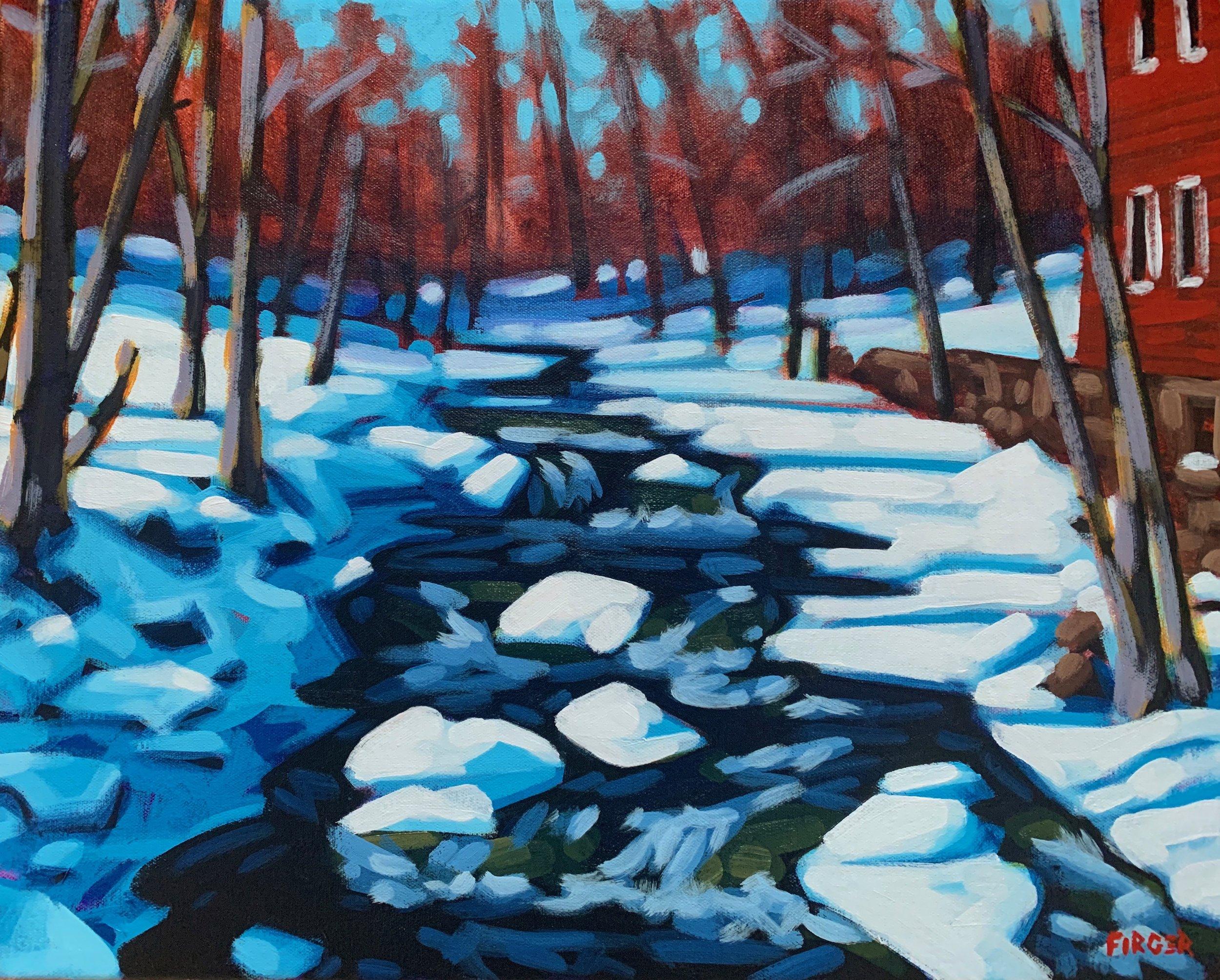 Sunlit Stream - 16 x 20, Acrylic on Canvas