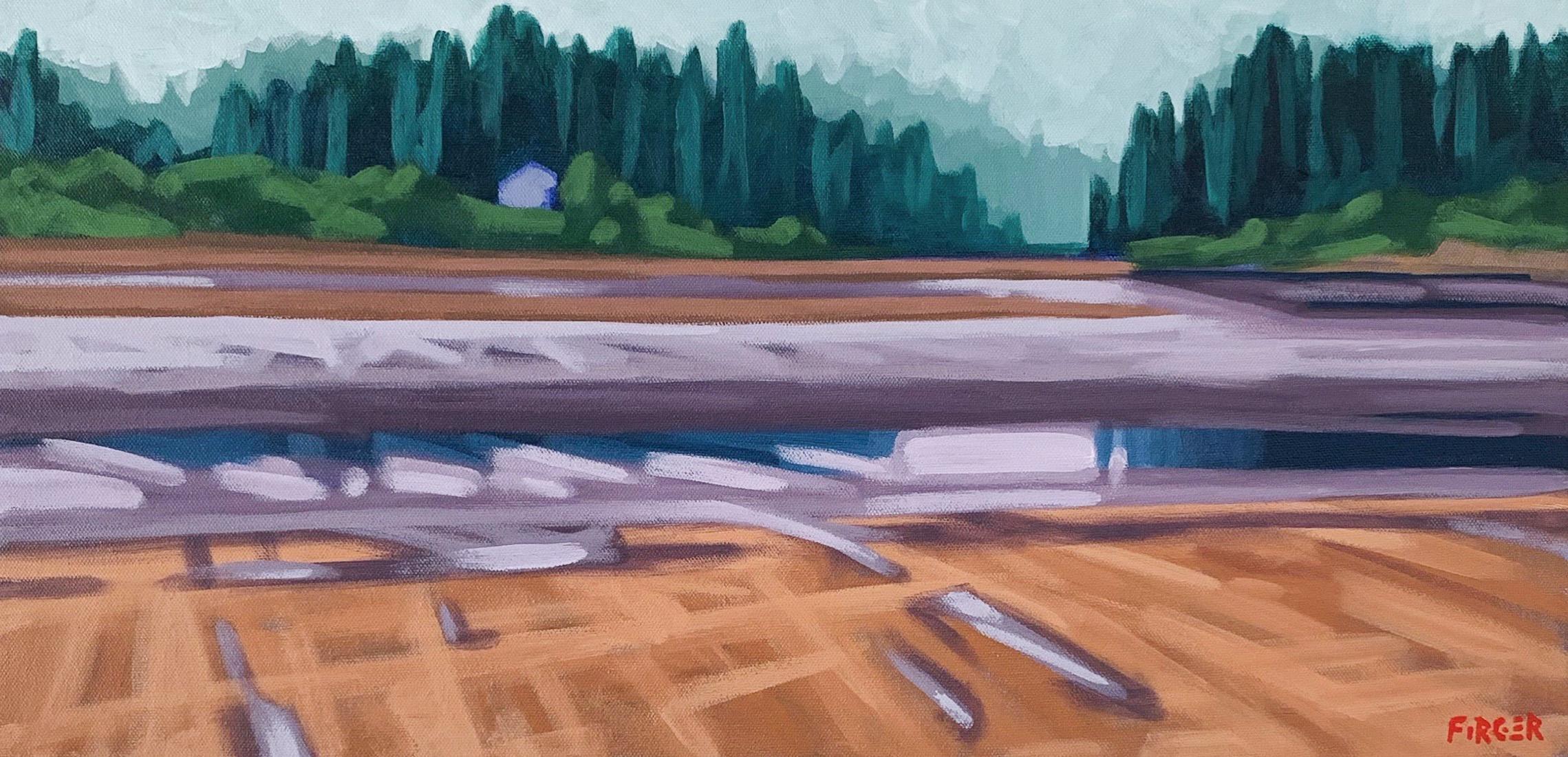 Fog Coast - 12 x 24, Acrylic on Canvas