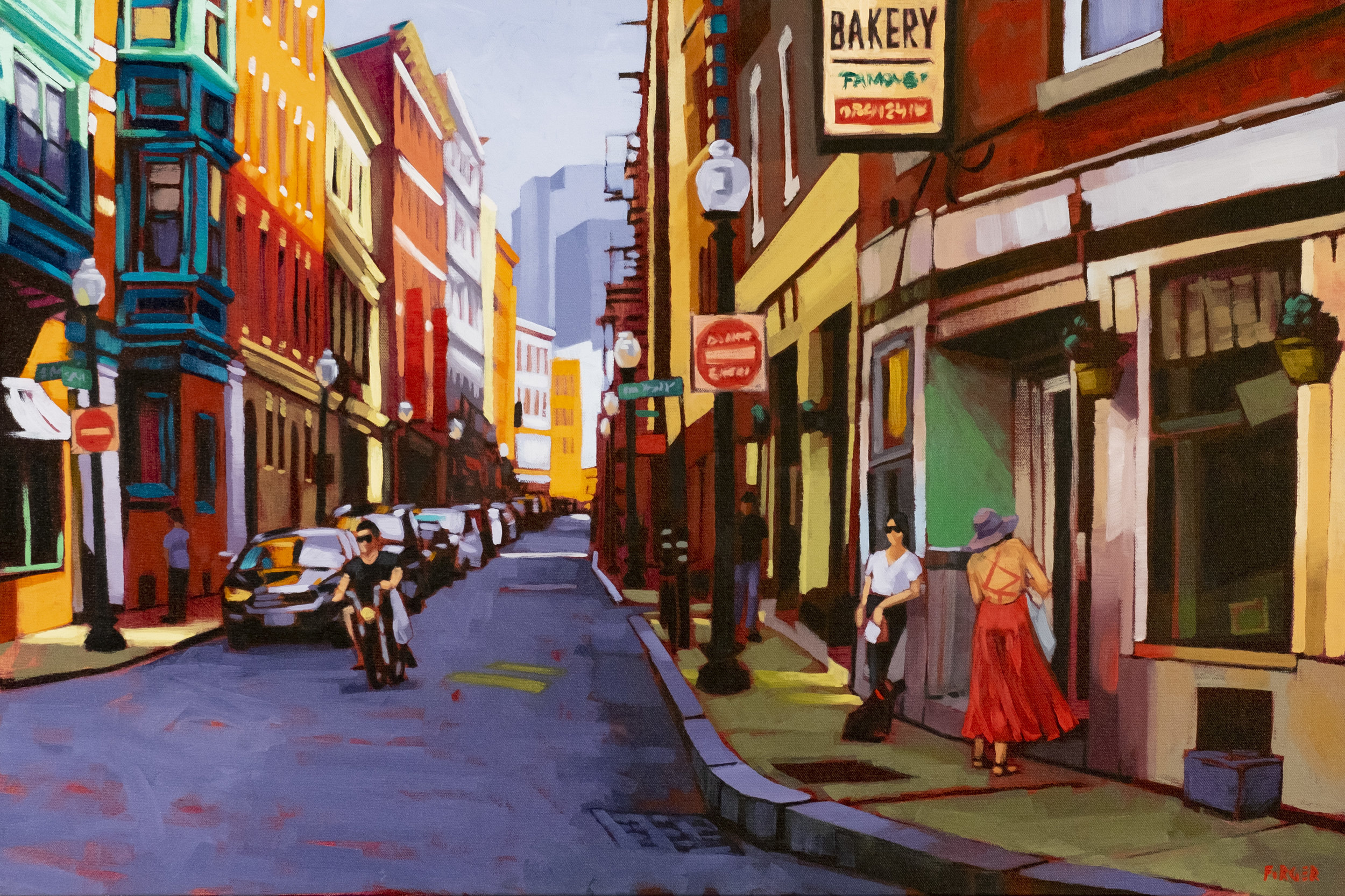 A Friday Sunset in the North End - 24 x 36, Acrylic on Canvas