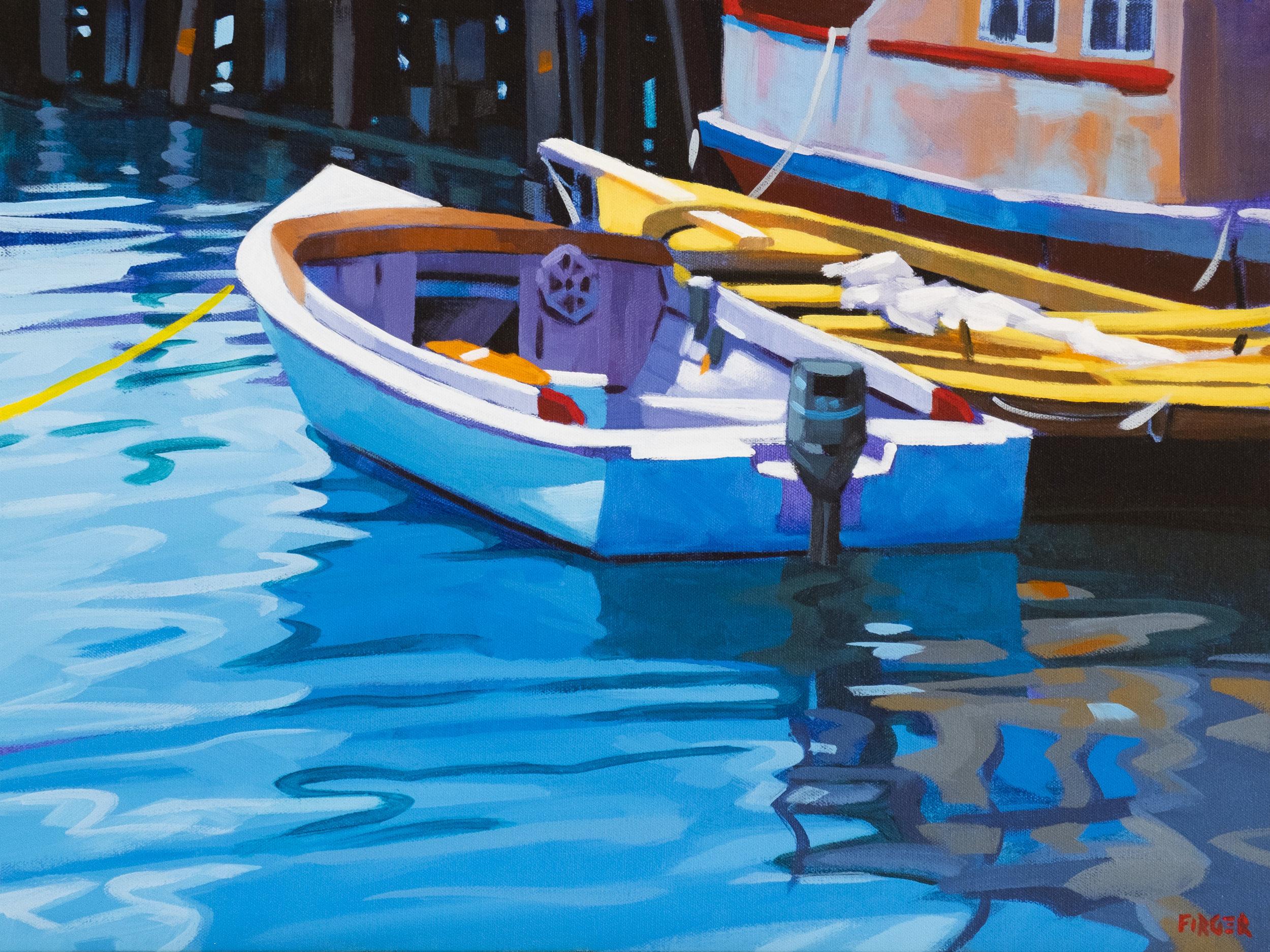 Dockside Reflections - 18 x 24, Acrylic on Canvas