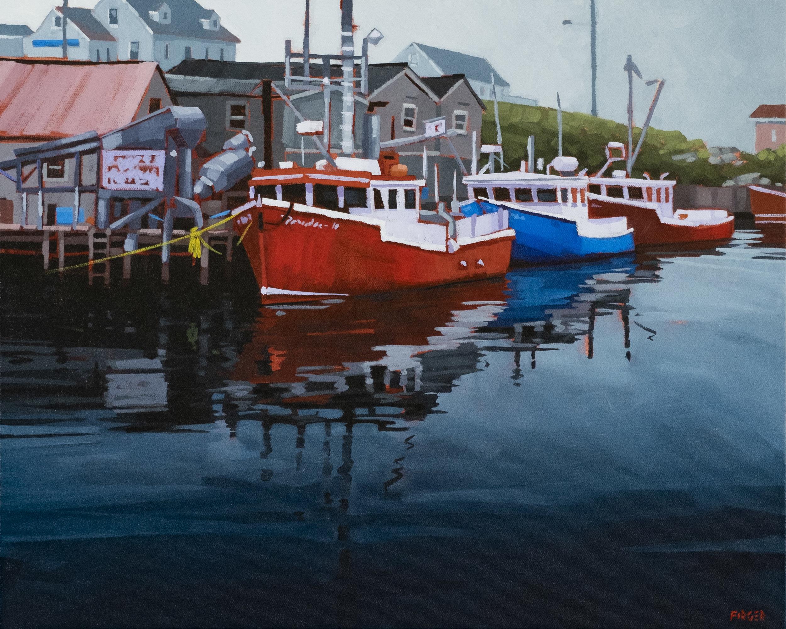 The Line Up (Nova Scotia) - 24 x 30, Acrylic on Canvas