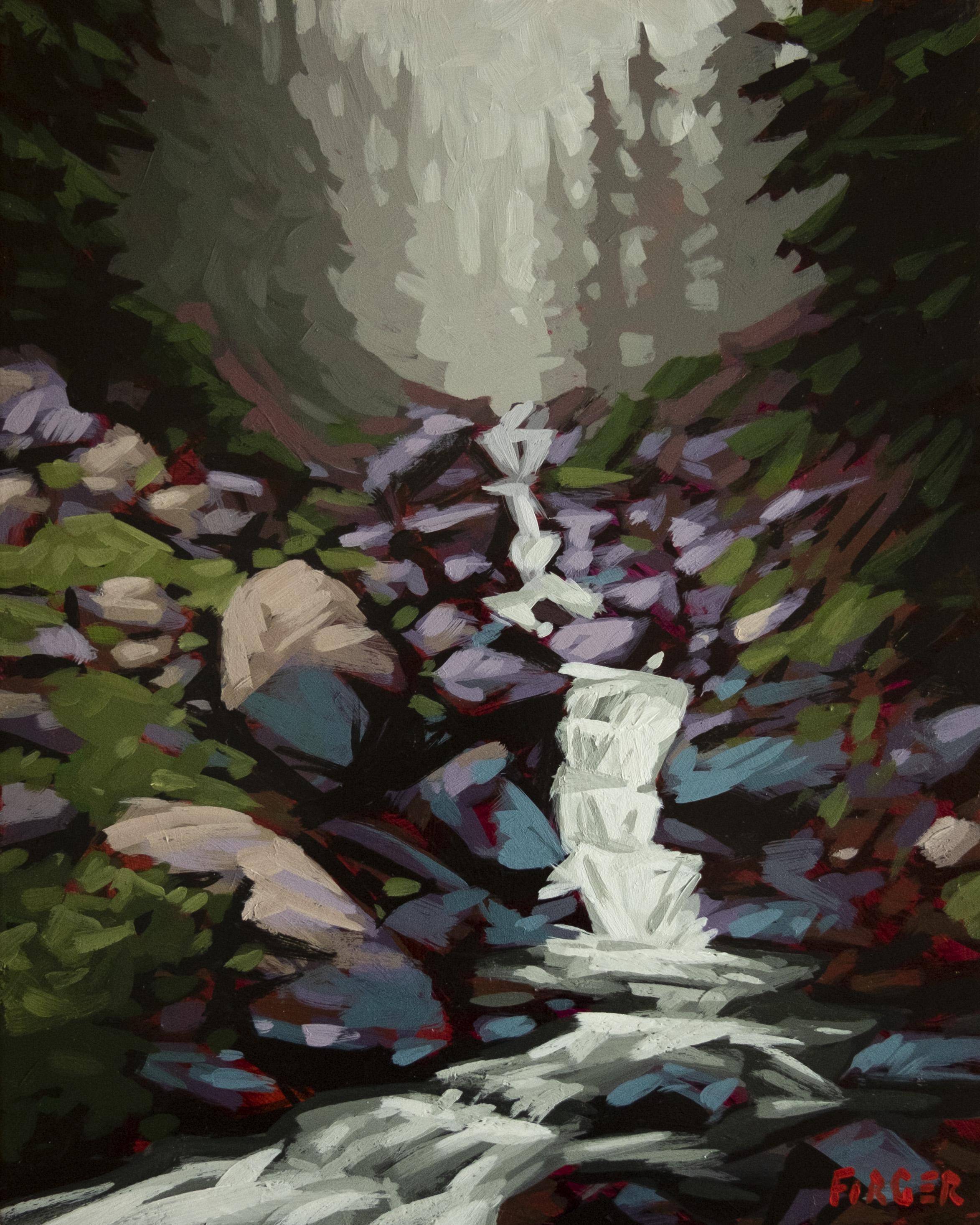 Falling Water - 8 x 10, Acrylic on Panel