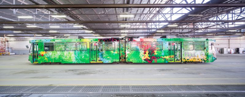 Jon Cattapan's Melbourne Art Tram. 2016. Image courtesy of Melbourne Festival and Yarra Trams.