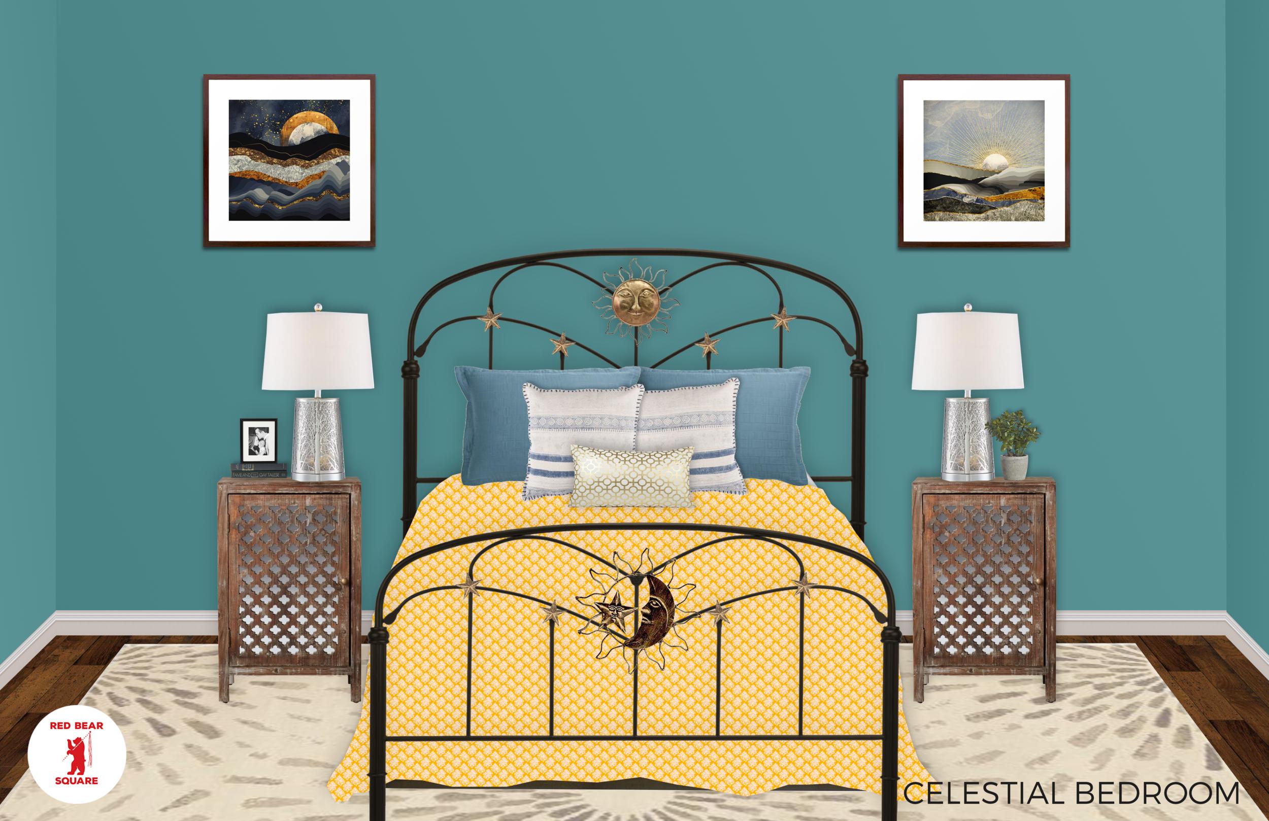 Boho Celestial Bedroom Rendering