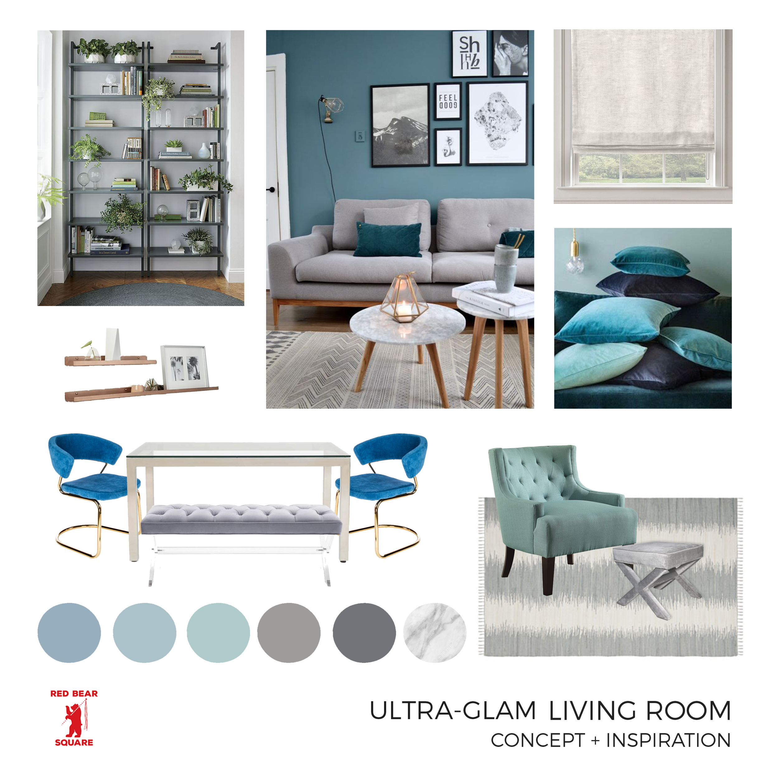 Concept Board for a UltraGlam Living and Dining Space