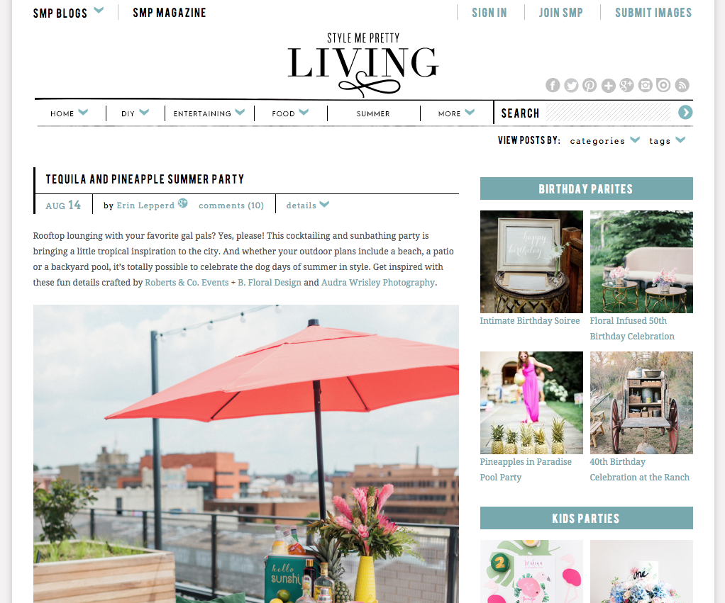 Featured on Style Me Pretty Living | B Floral and Event Design